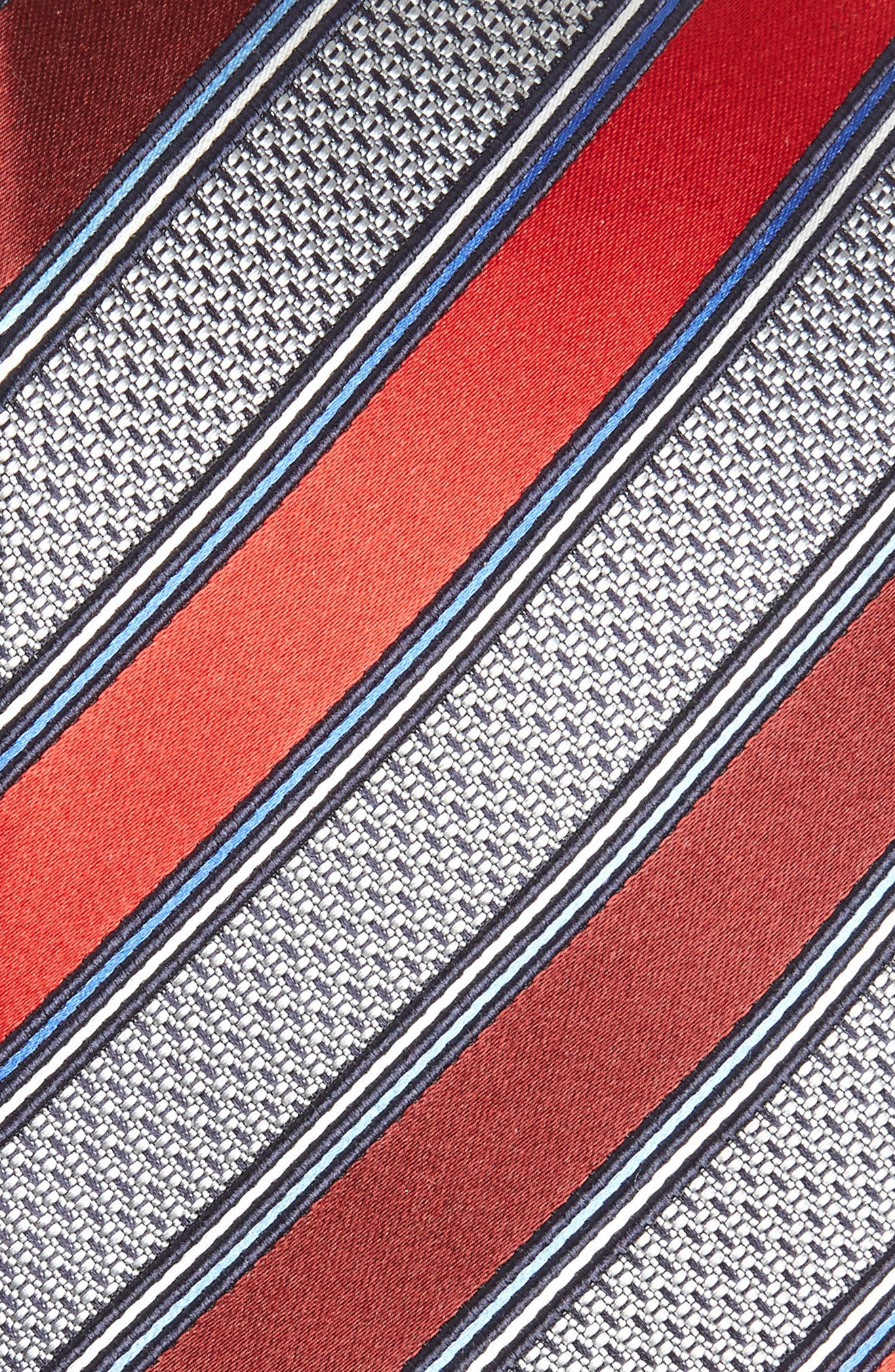 Stripe Silk & Cotton Tie,                             Alternate thumbnail 2, color,                             Red