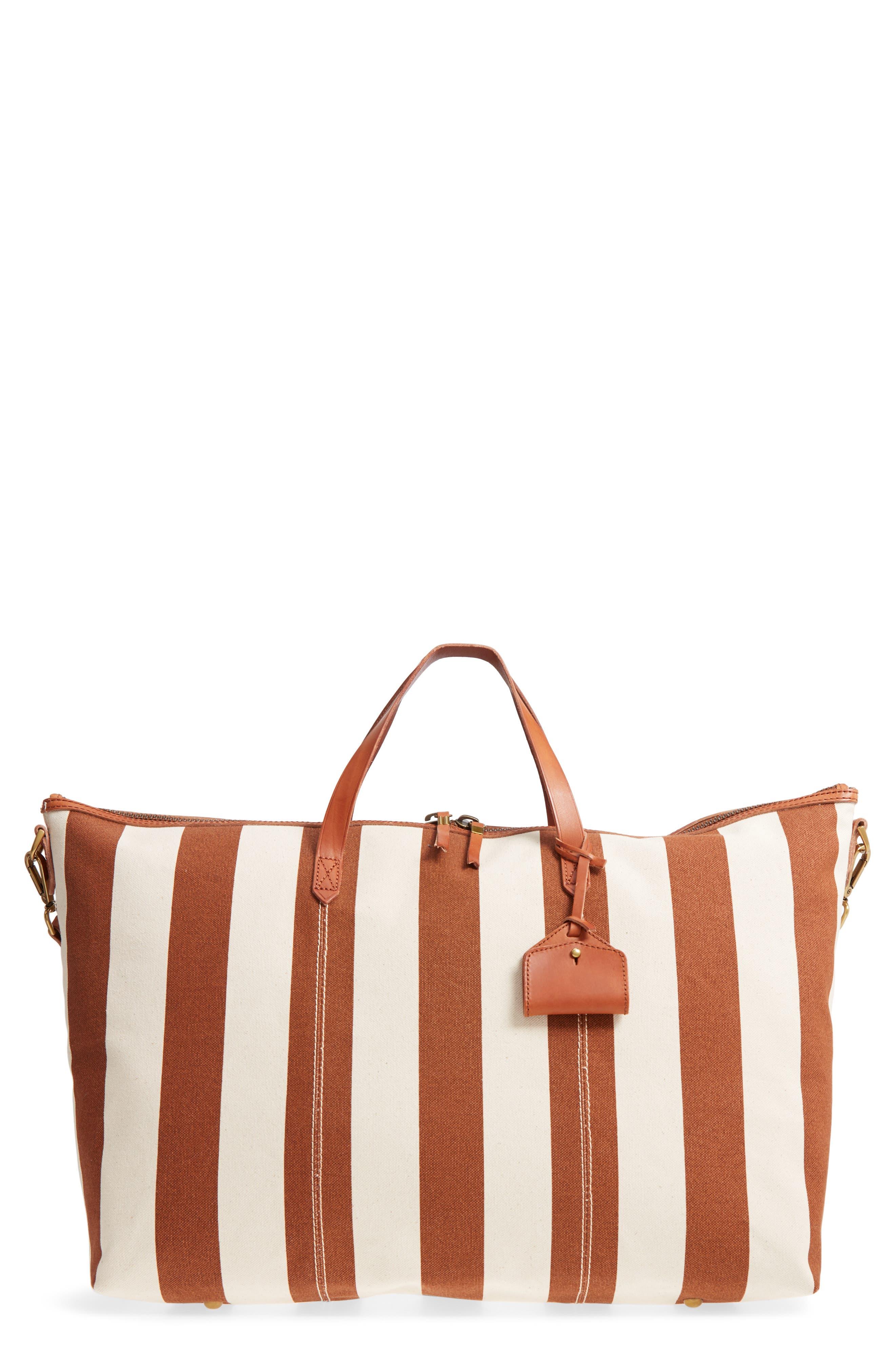 Transport Canvas Weekend Bag,                             Main thumbnail 1, color,                             Burnt Orange Stripe