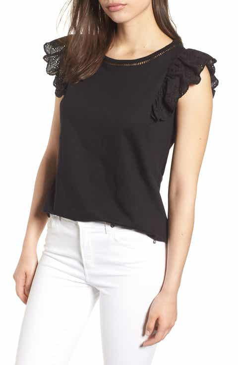 Bobeau Eyelet Sleeve Top