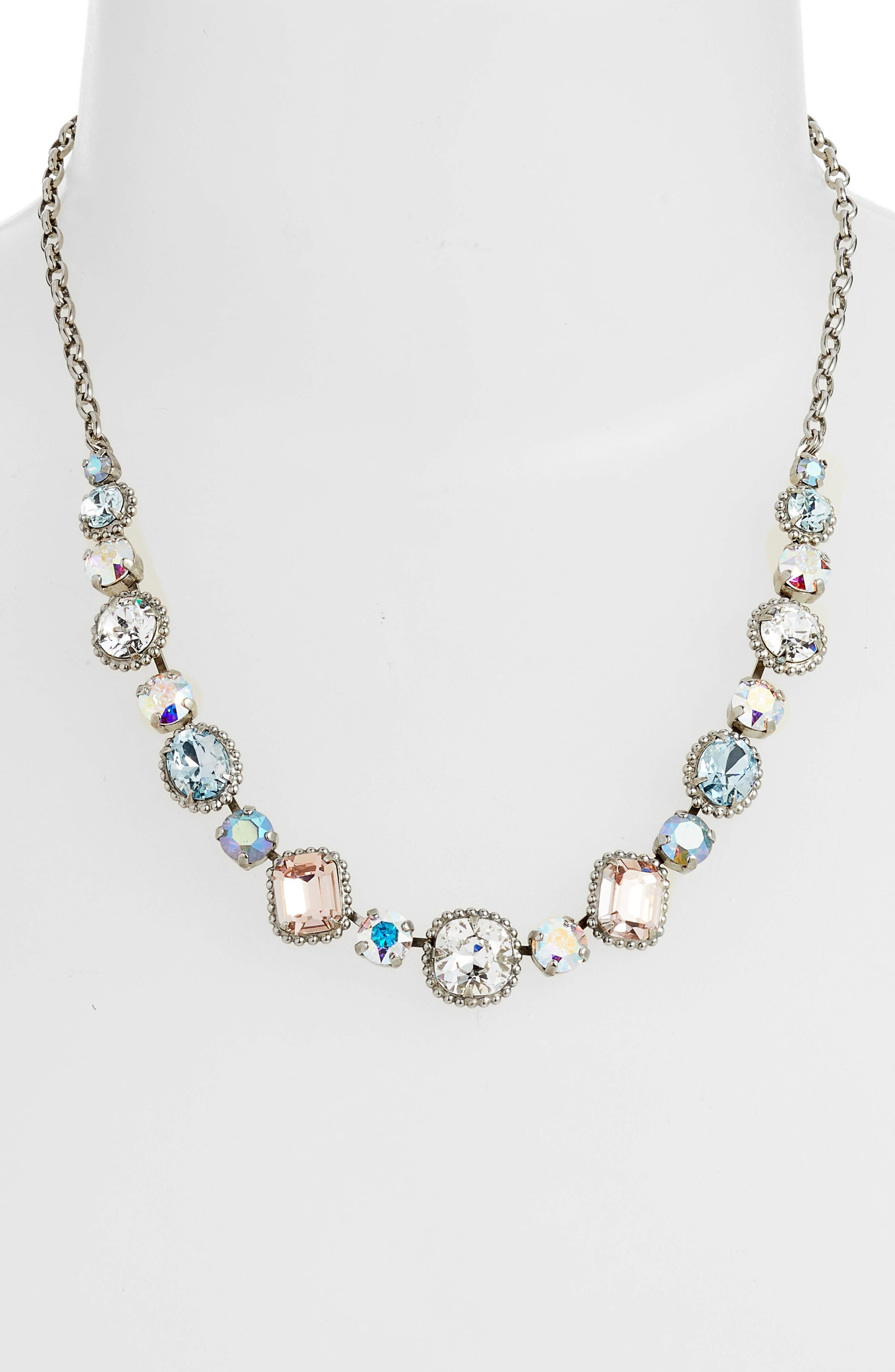 Embellished Elegance Crystal Necklace,                         Main,                         color, Blue