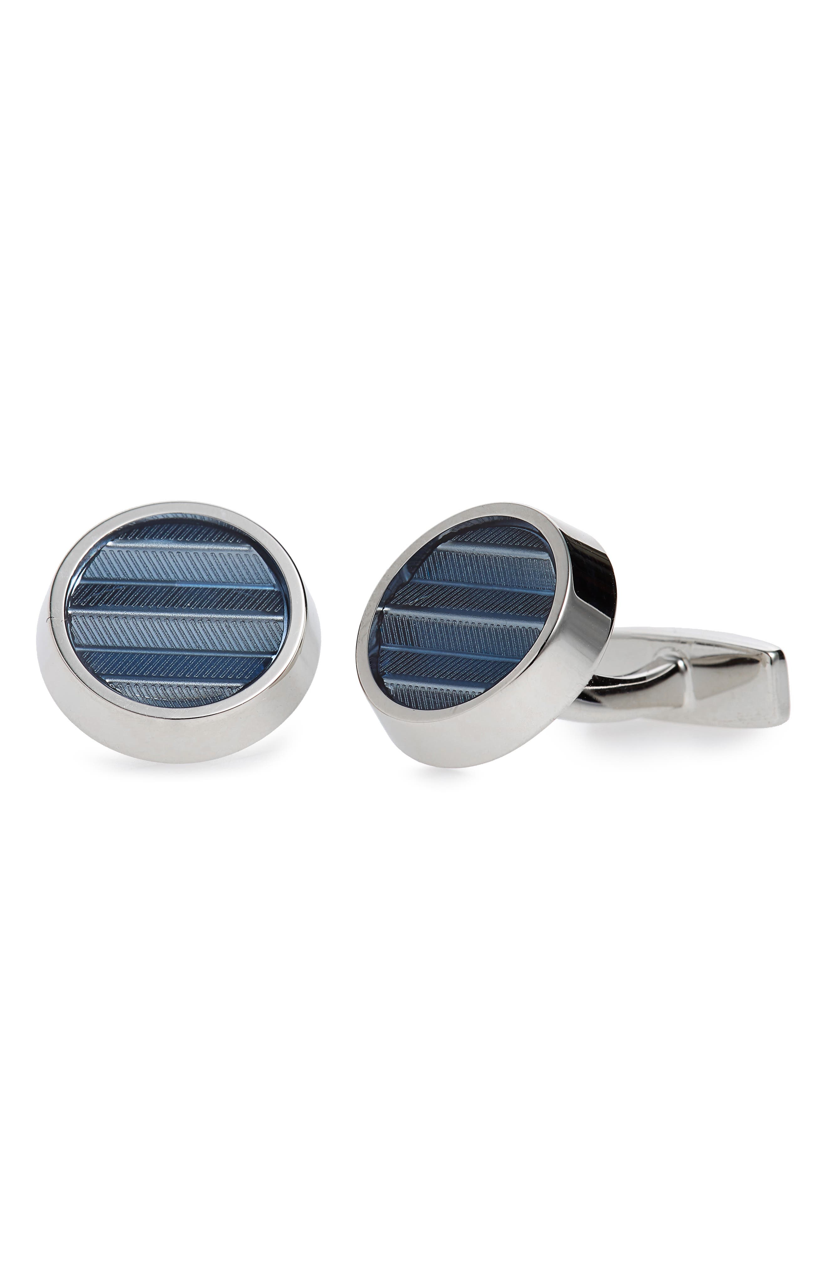 Kay Round Herringbone Cuff Links,                             Main thumbnail 1, color,                             Blue
