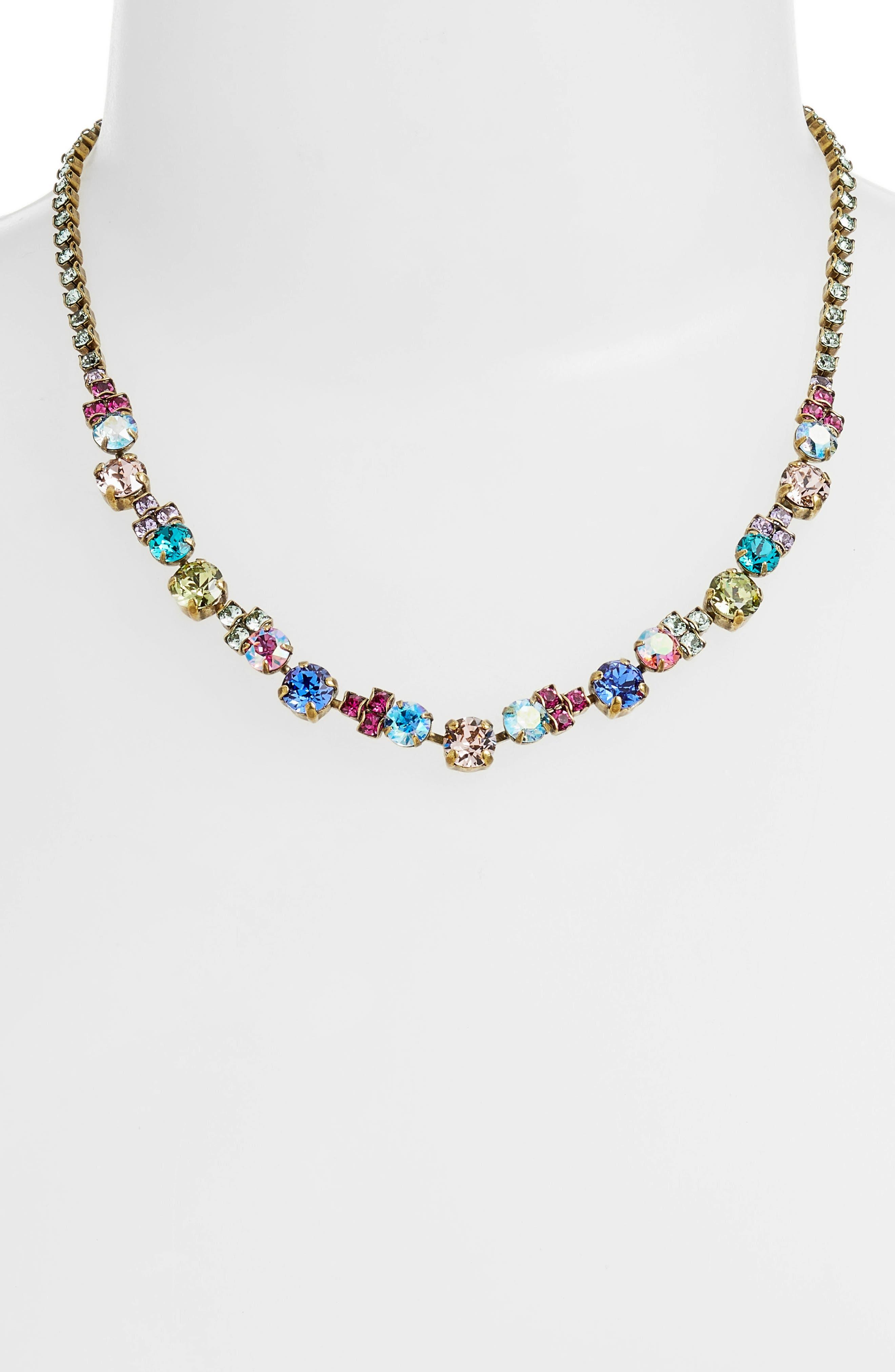 Limonium Crystal Necklace,                             Main thumbnail 1, color,                             Gold Multi