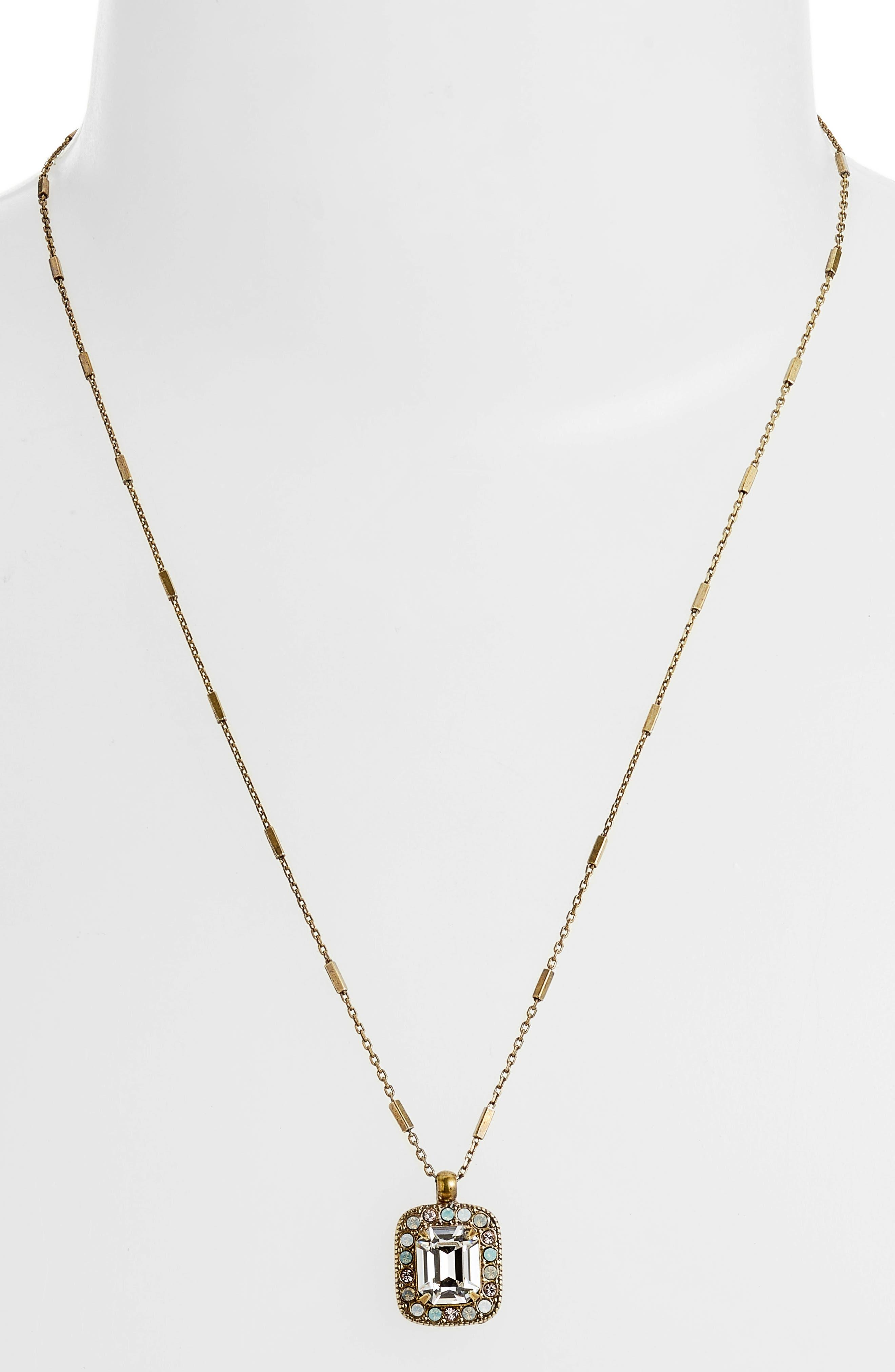 Opulent Octagon Crystal Pendant Necklace,                             Alternate thumbnail 2, color,                             Clear