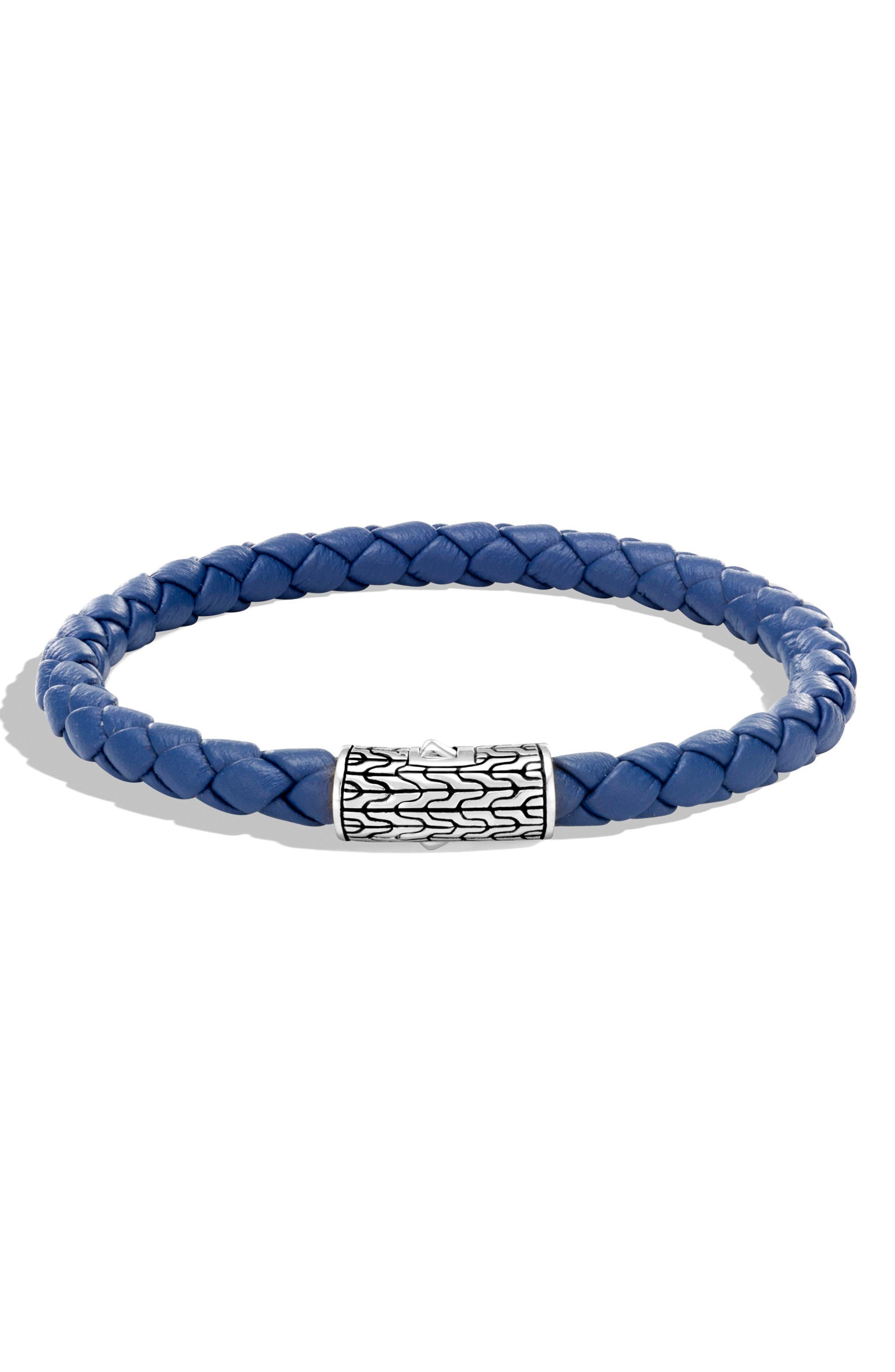 Classic Chain Leather Station Bracelet,                             Main thumbnail 1, color,                             Light Blue Leather