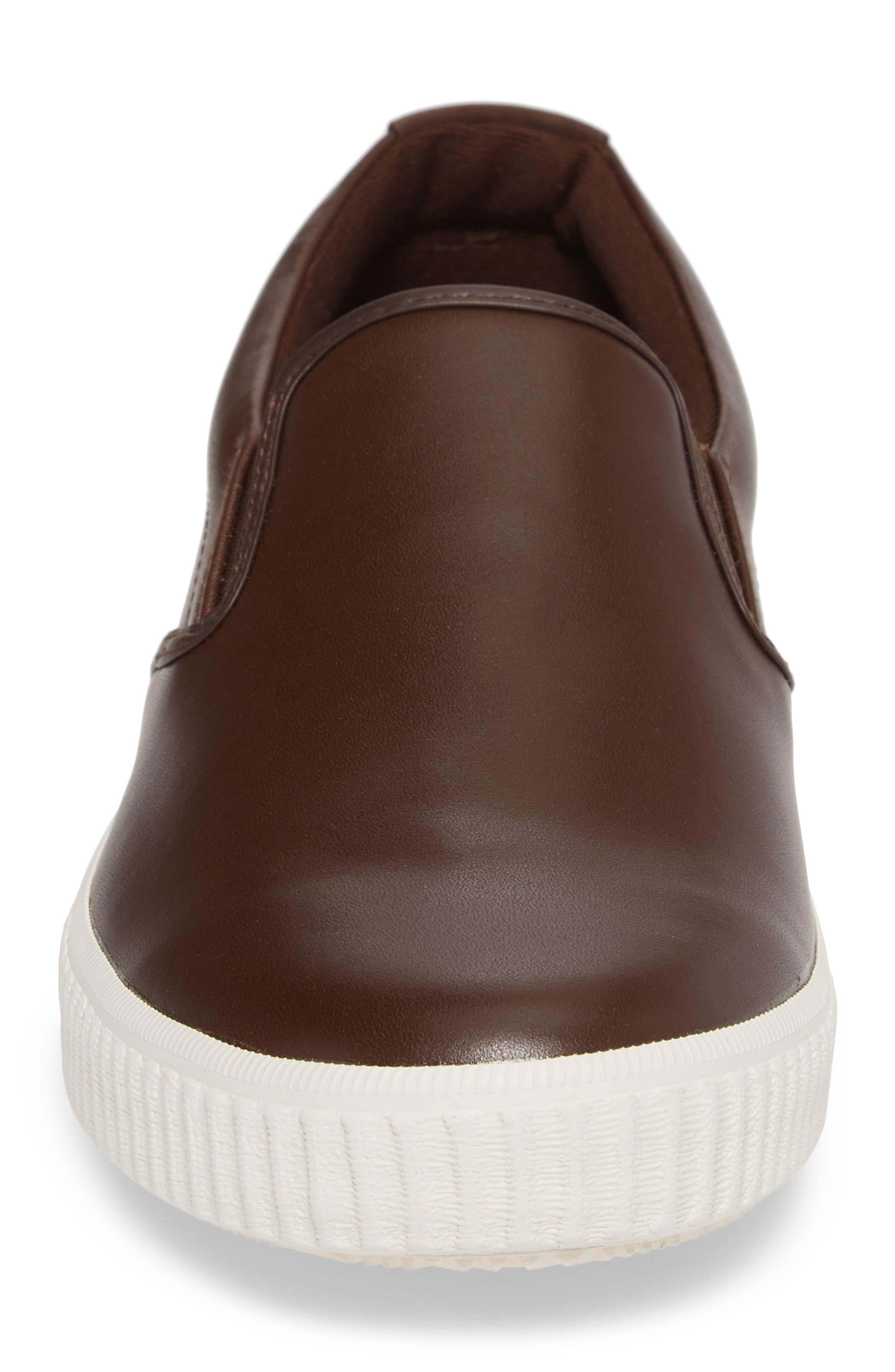 Riverside Slip-On Sneaker,                             Alternate thumbnail 4, color,                             Brown/ Off White Leather