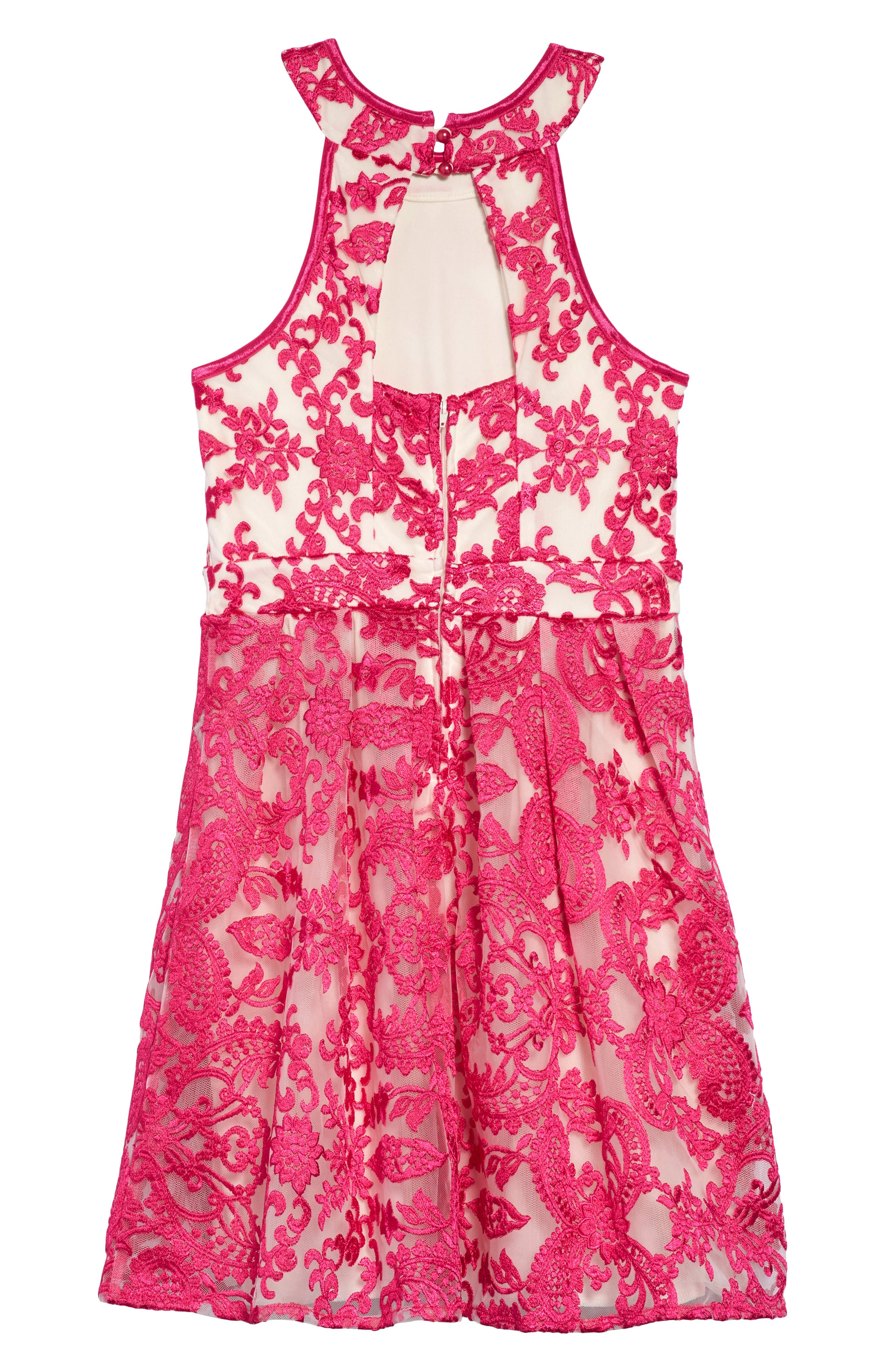 Floral Mesh Detail Dress,                             Alternate thumbnail 2, color,                             Fuchsia/ Nude