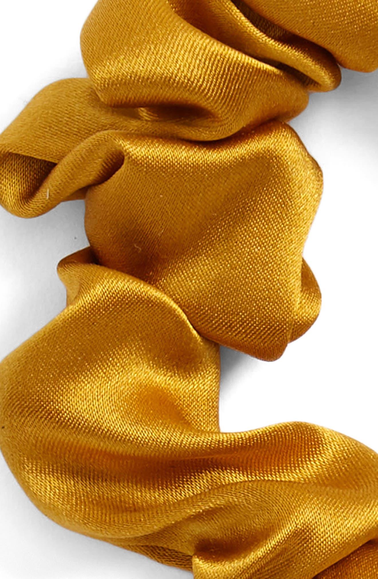 Chiquita Silk Scrunchie,                             Alternate thumbnail 2, color,                             Mustard