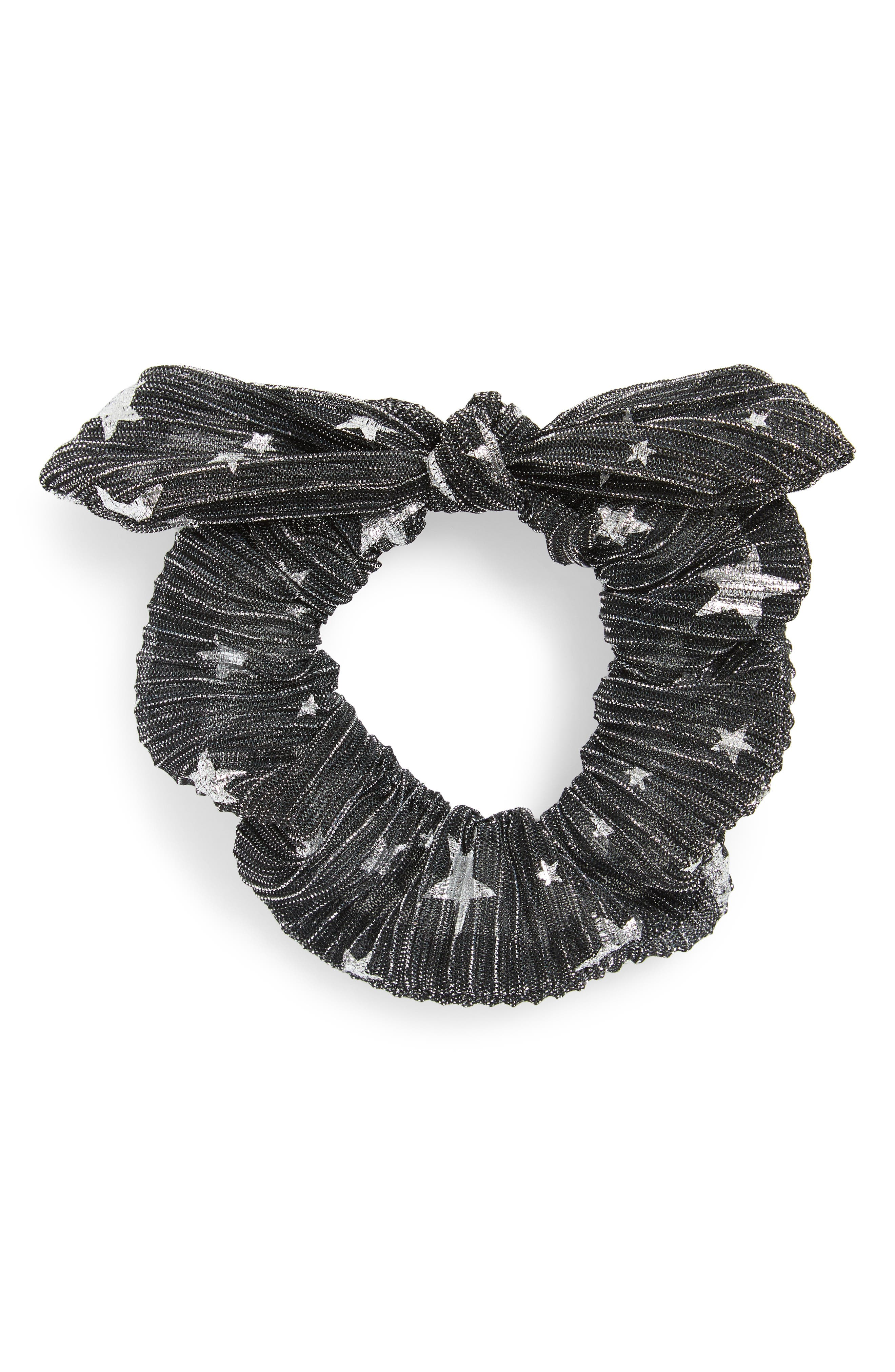 Foil Print Bunny Scrunchie,                             Main thumbnail 1, color,                             Black/ Silver