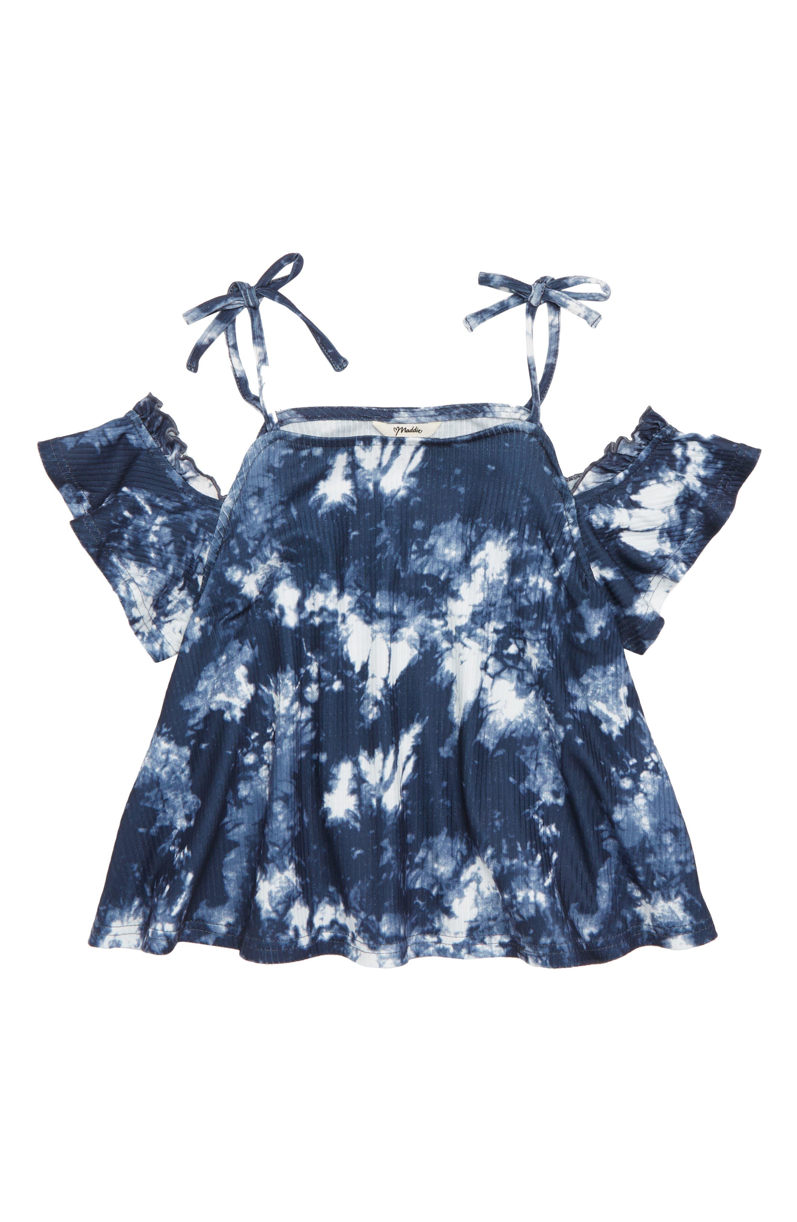 Maddie Cold Shoulder Tie Dye Top (Big Girls)