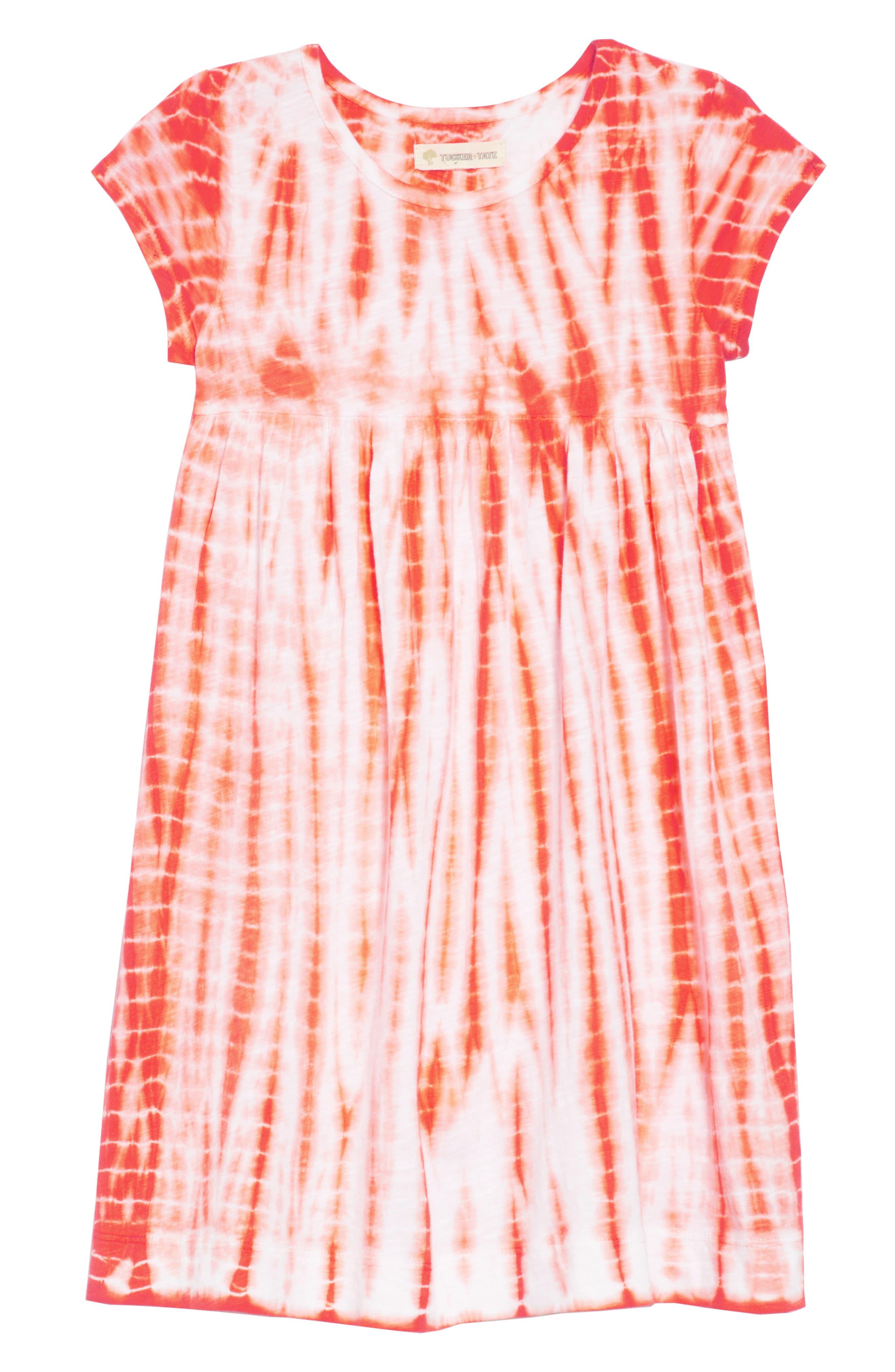 Tie Dye Dress,                             Main thumbnail 1, color,                             White- Coral Tie Dye