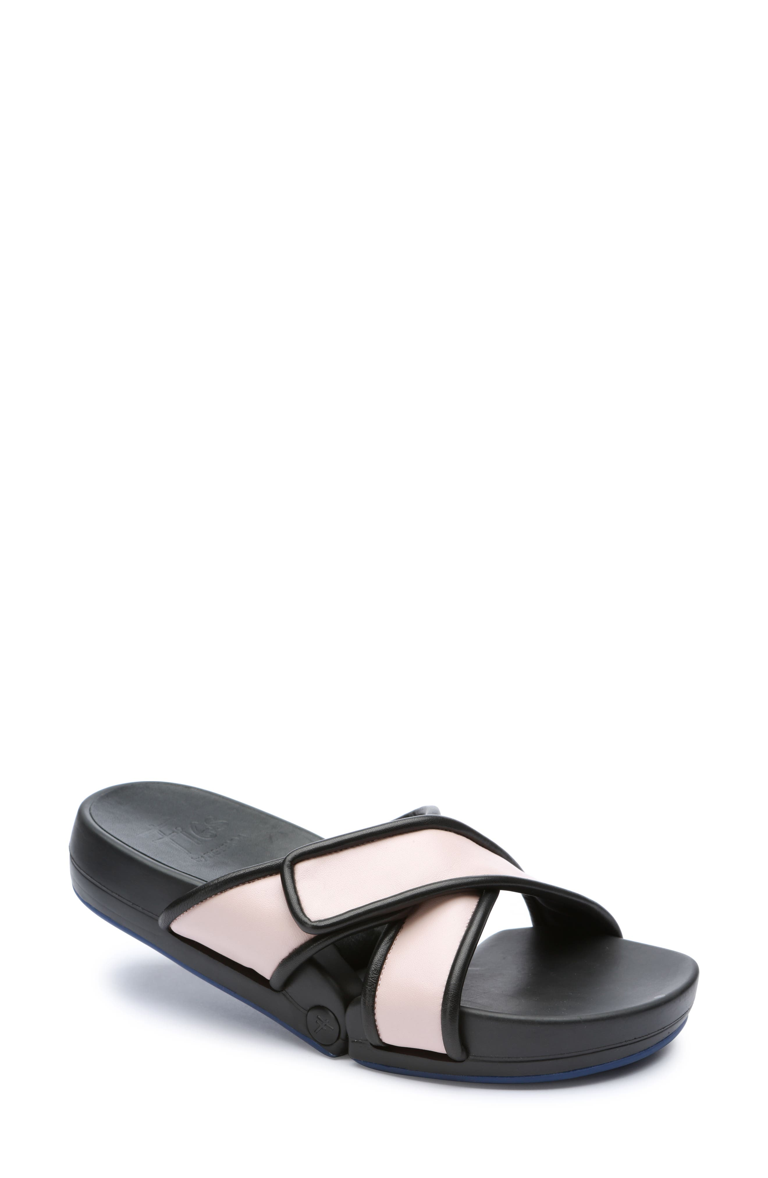 Figomatic Slide Sandal,                             Main thumbnail 1, color,                             Pink Nappa Leather