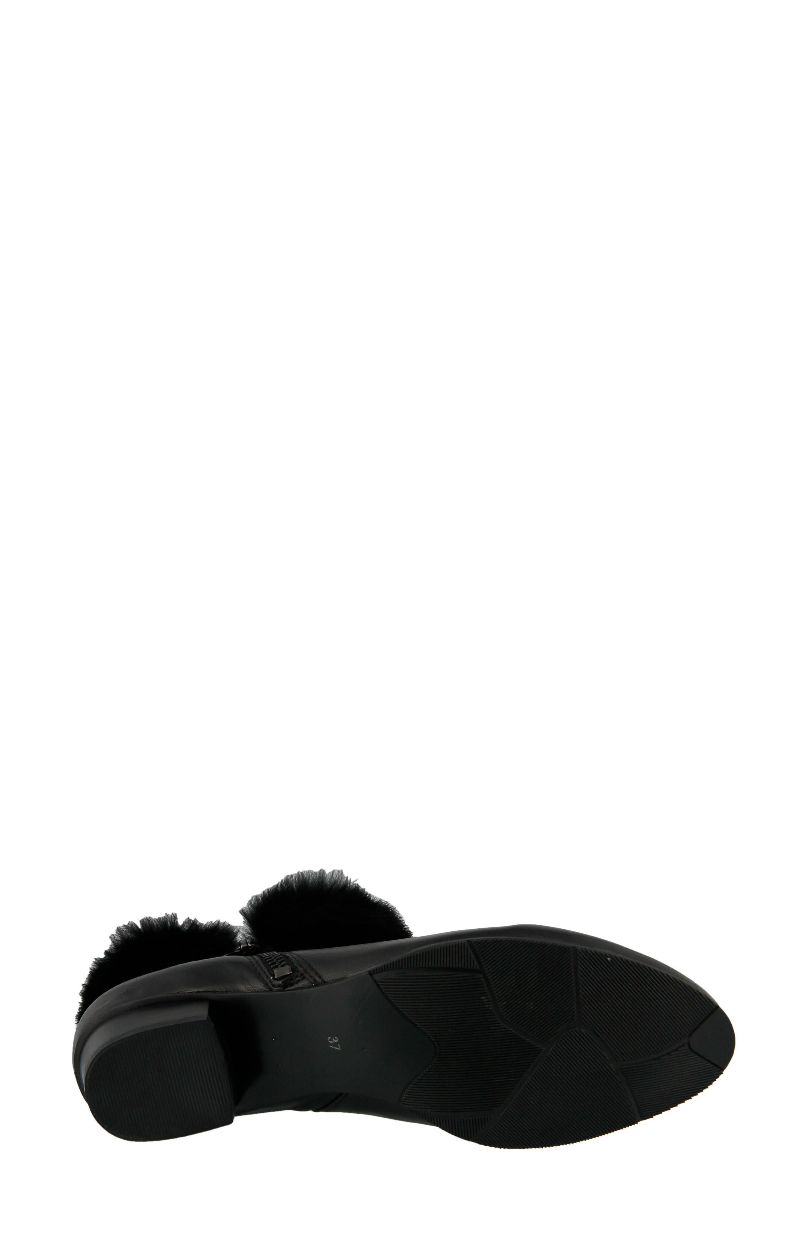 Burnside Faux Fur Trim Bootie,                             Alternate thumbnail 4, color,                             Black Leather