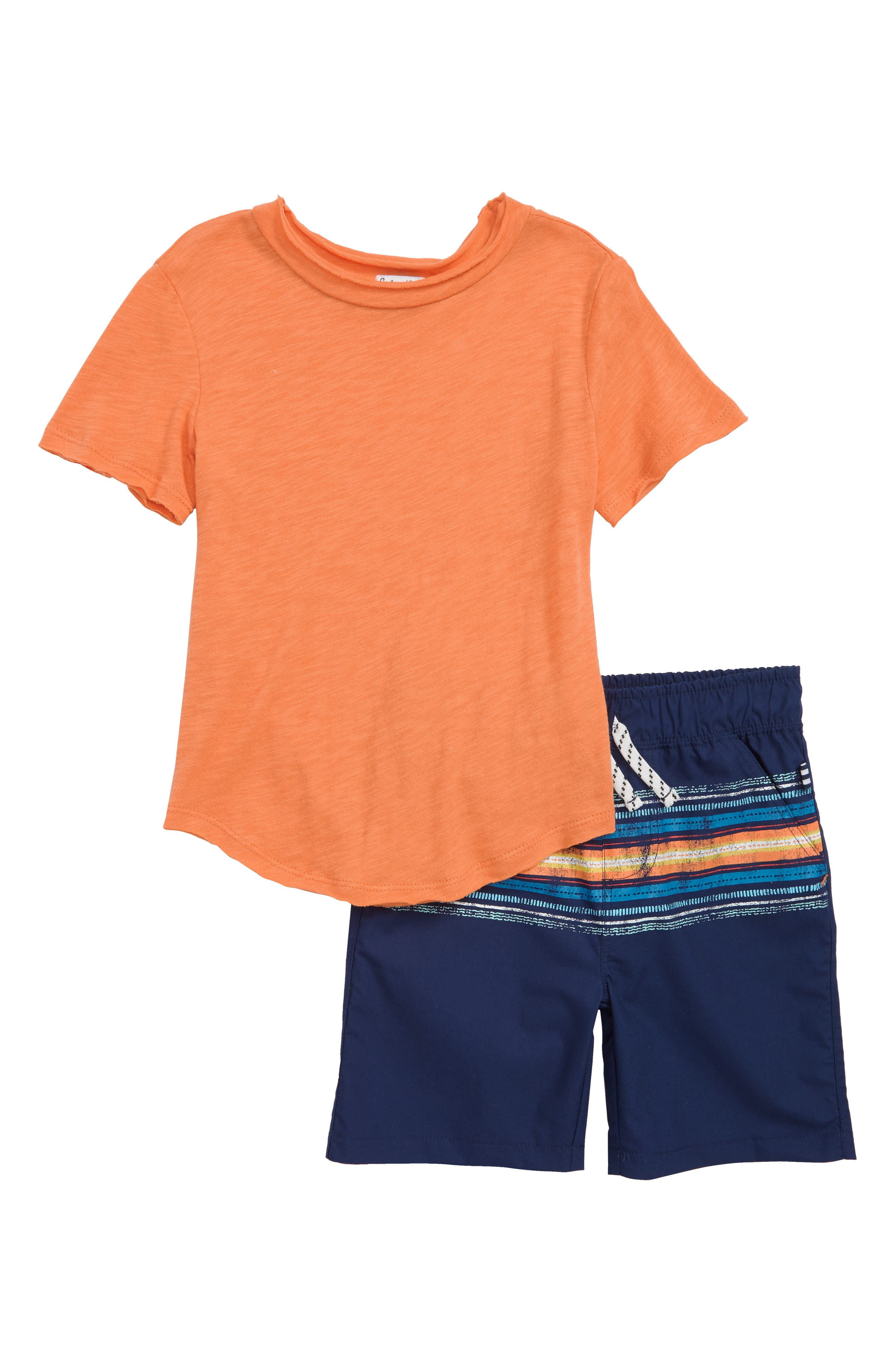 T-Shirt & Stripe Shorts Set,                             Main thumbnail 1, color,                             Atomic Orange