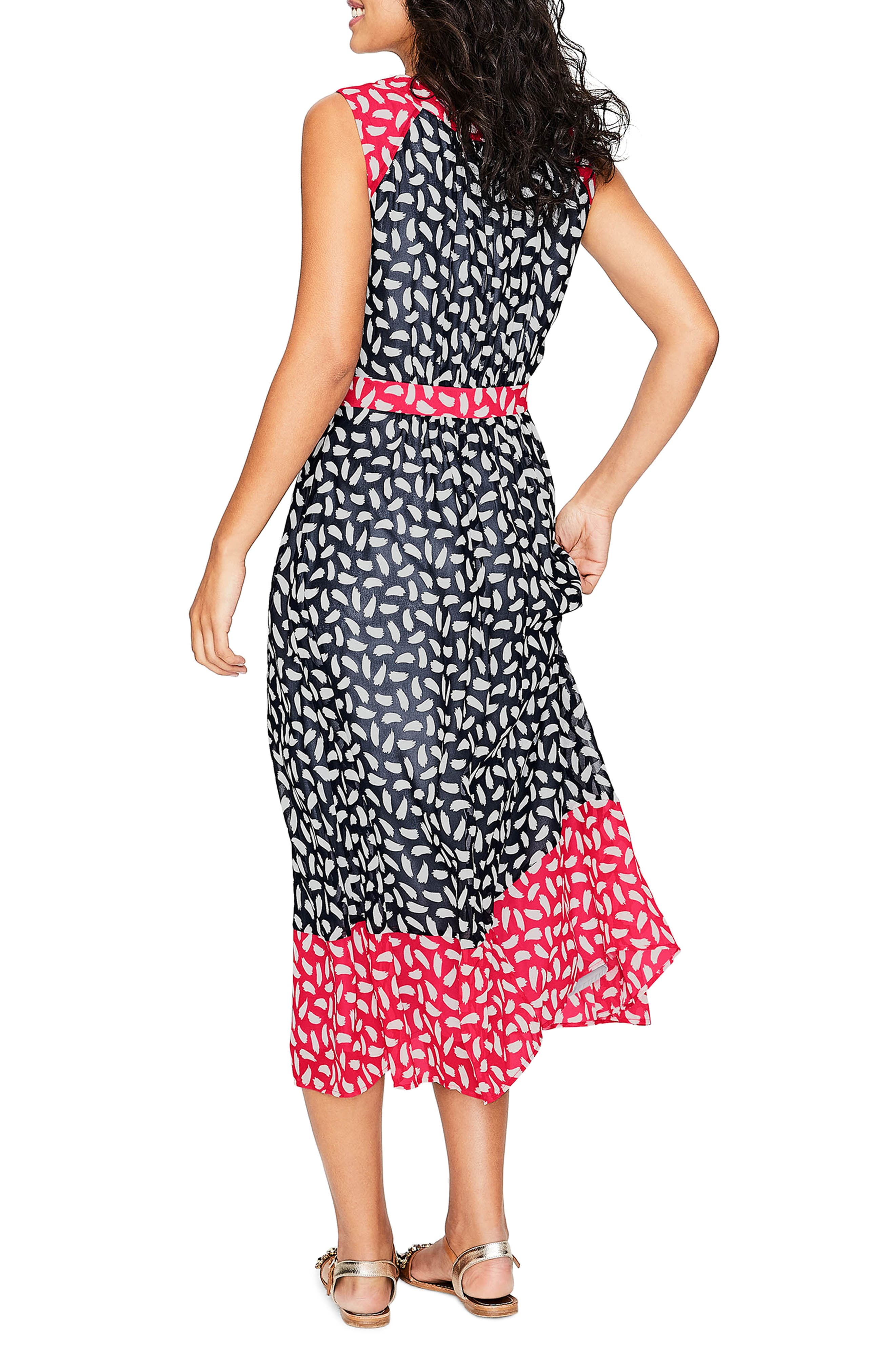Sylvie Print Sleeveless Dress,                             Alternate thumbnail 3, color,                             Navy Brush Stroke