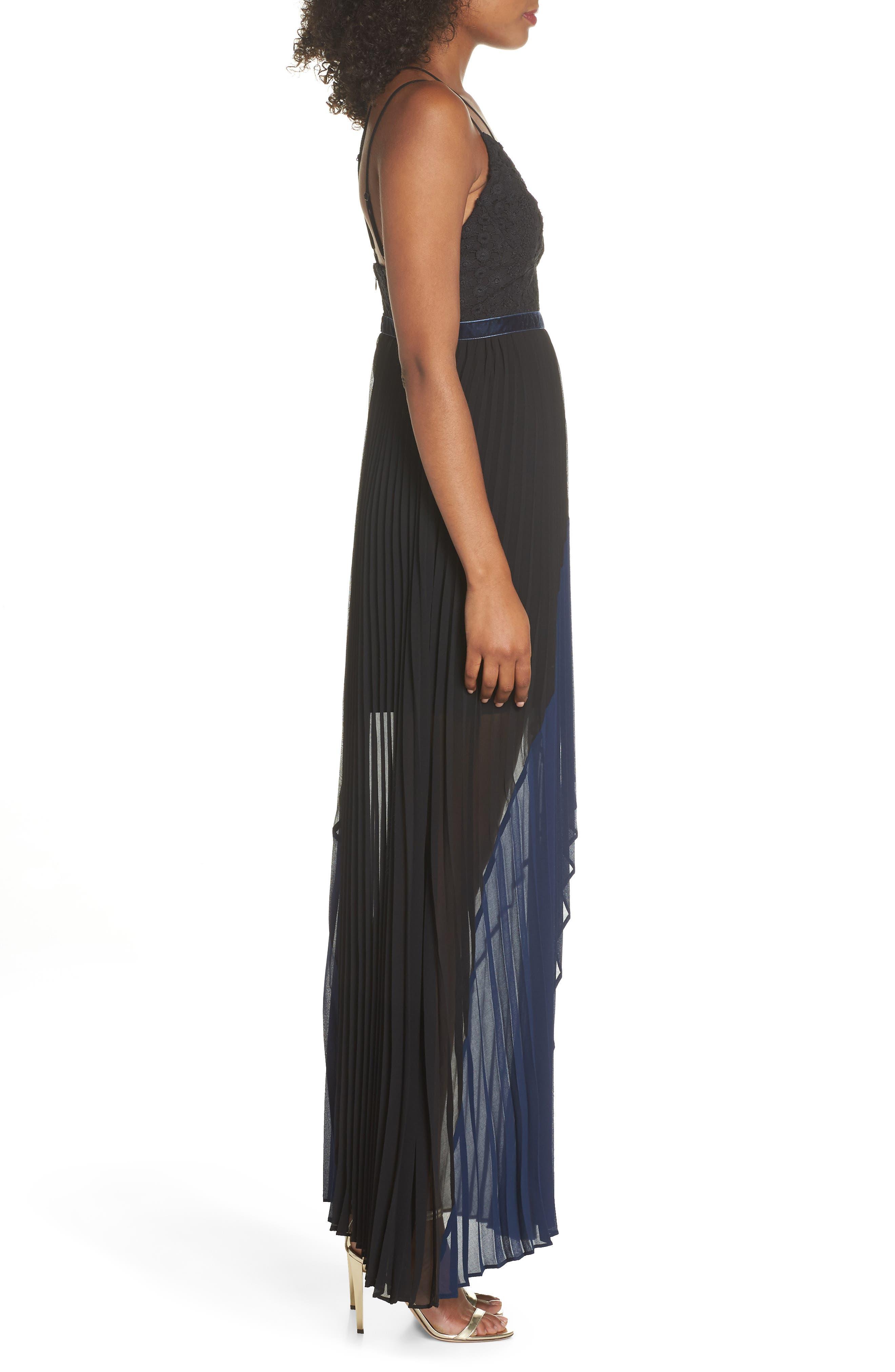 Nealea Pleat Chiffon Gown,                             Alternate thumbnail 4, color,                             Black/ Navy