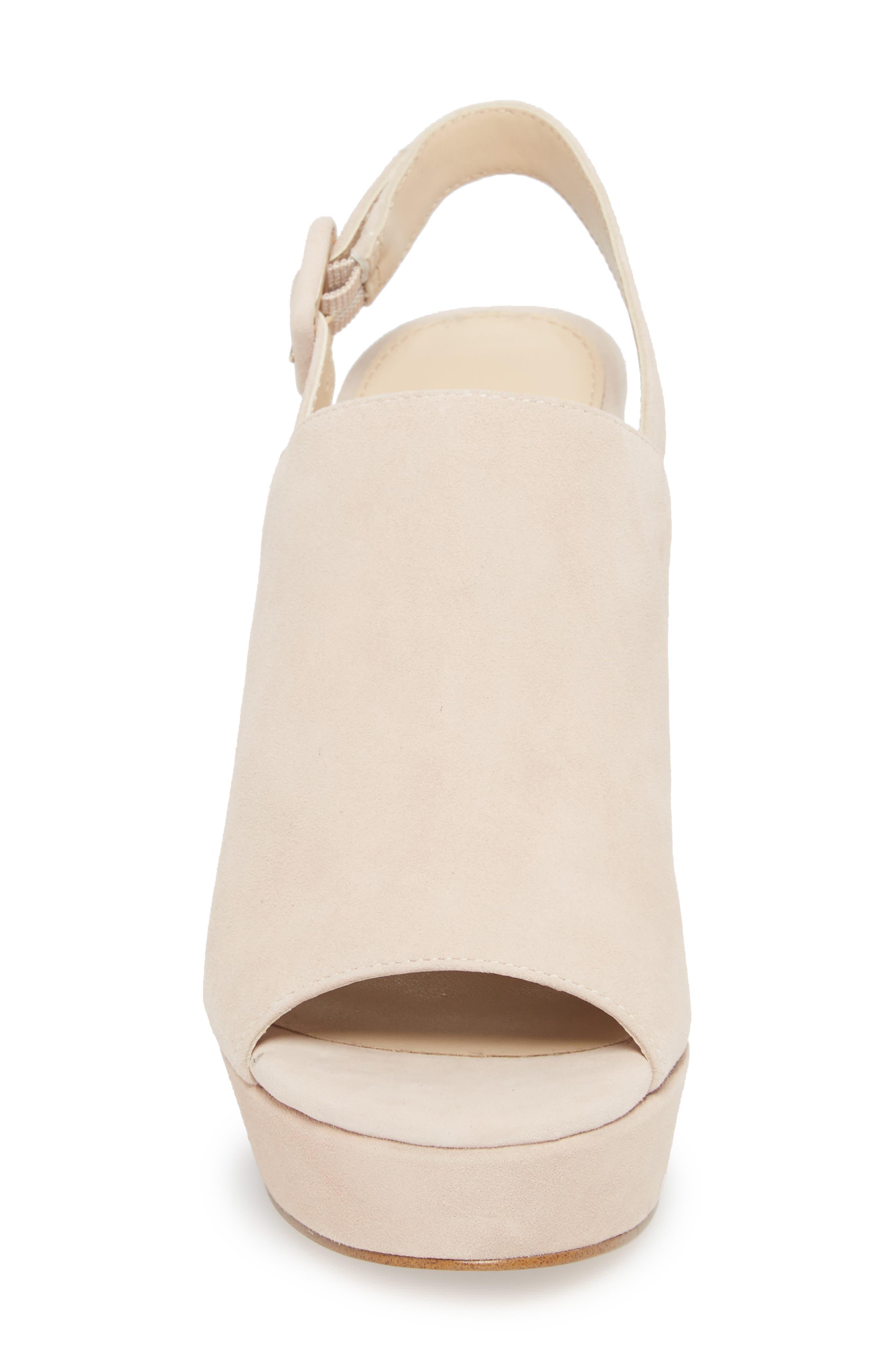 Jolene Platform Sandal,                             Alternate thumbnail 4, color,                             Blush Suede