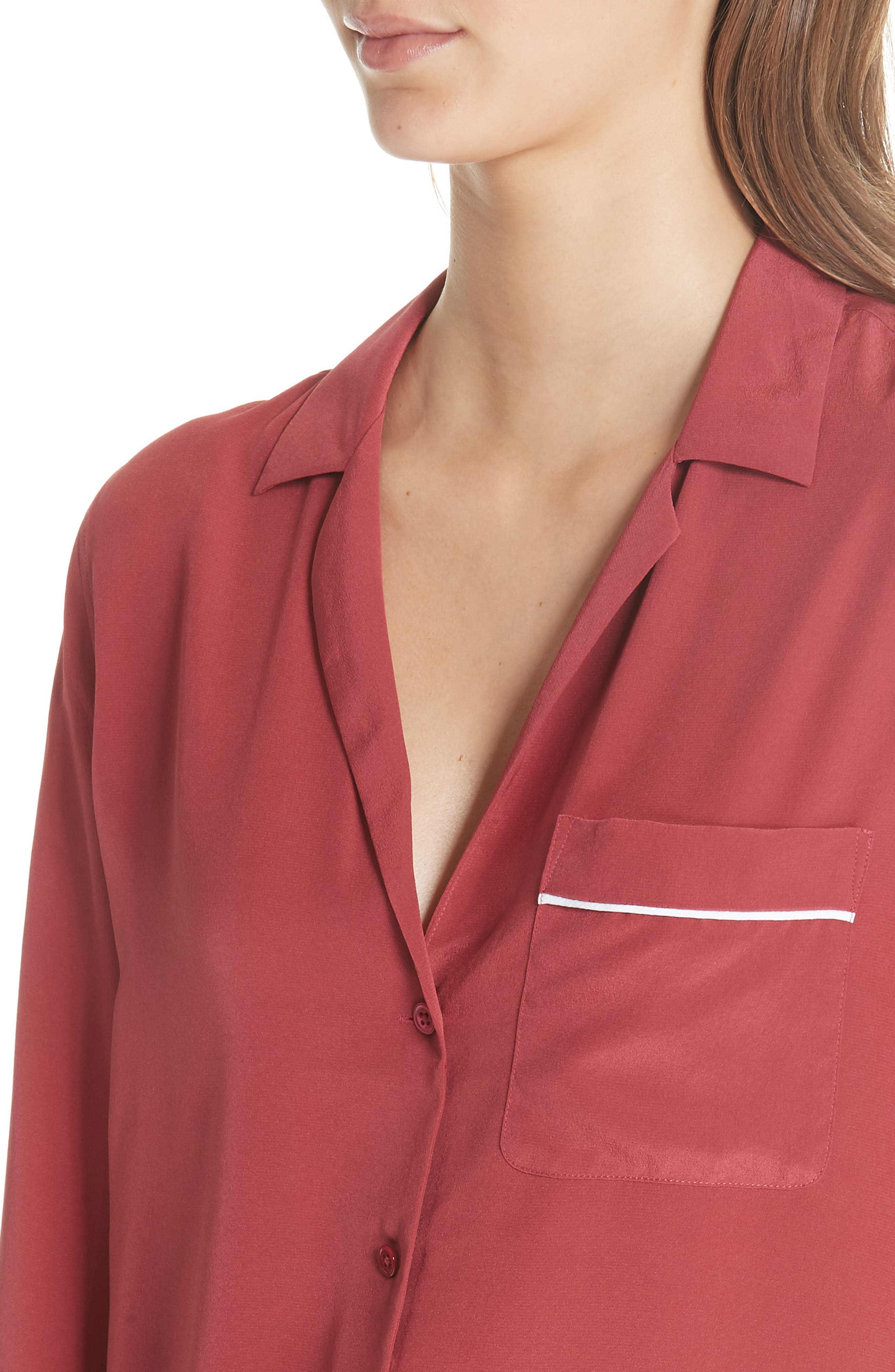 Keira Piped Silk Shirt,                             Alternate thumbnail 5, color,                             Pinot Noir