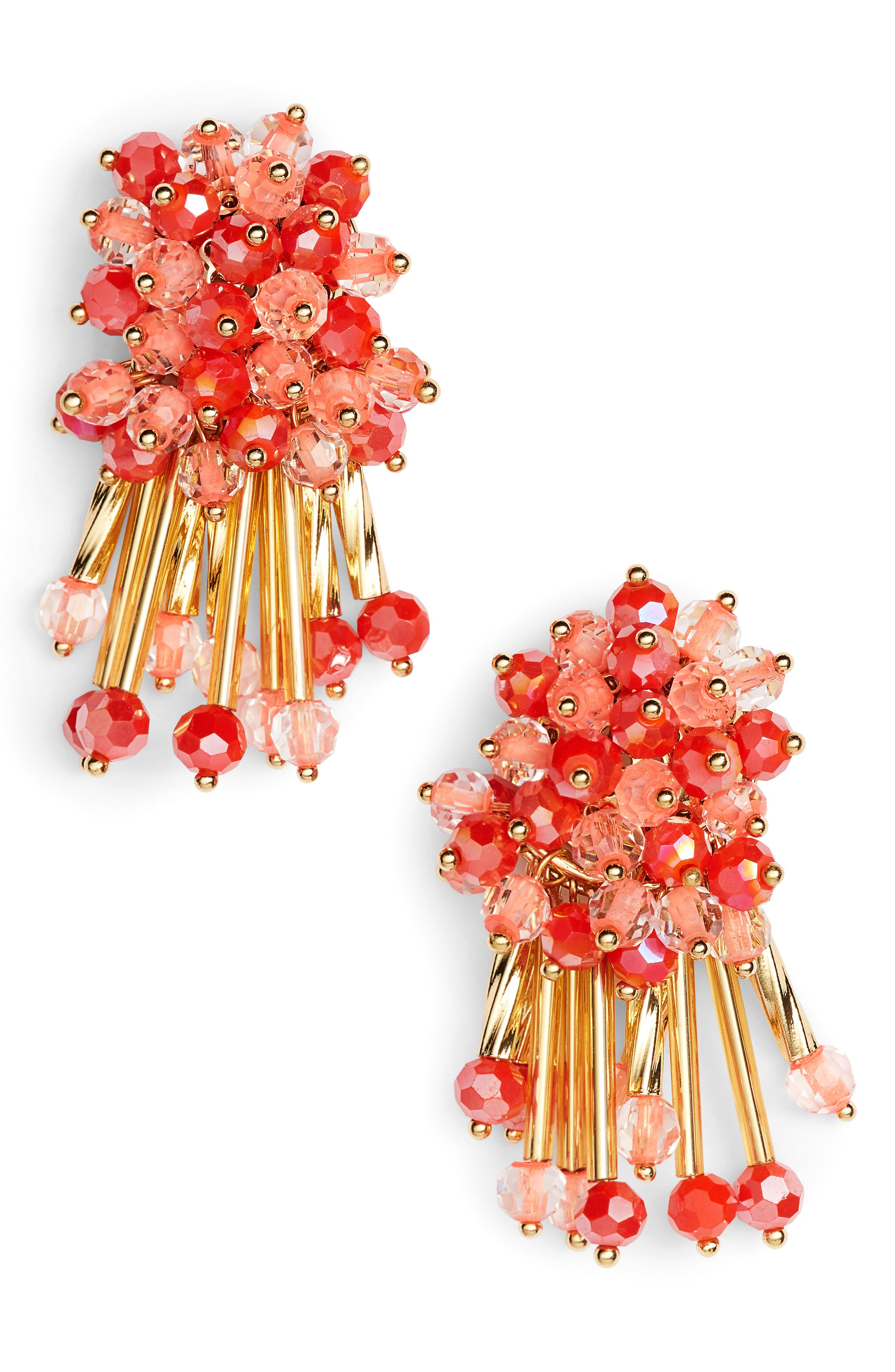 wrap it up cluster stud earrings,                             Main thumbnail 1, color,                             Coral Multi