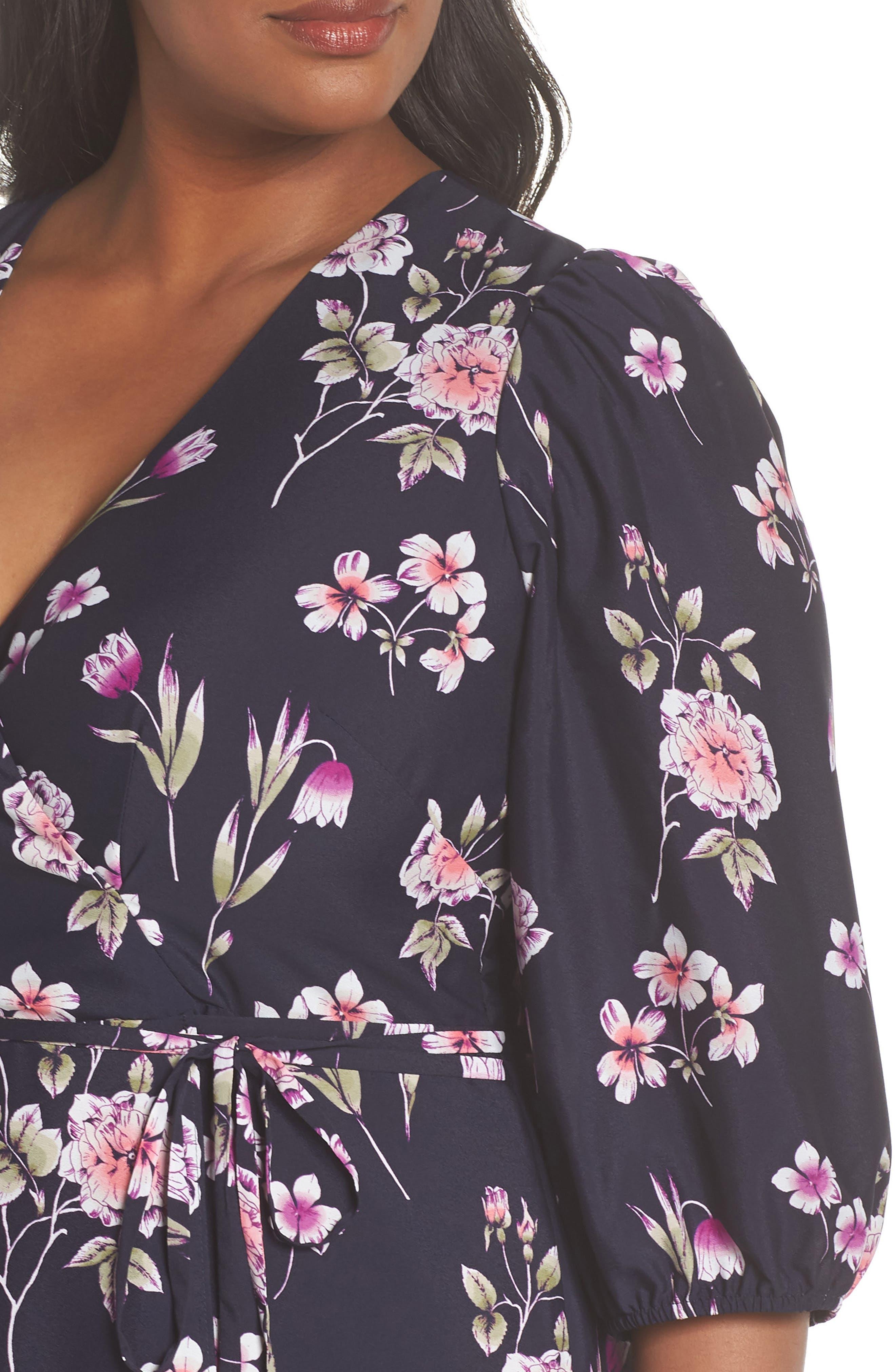 Puff Sleeve Floral Wrap Midi Dress,                             Alternate thumbnail 4, color,                             Navy