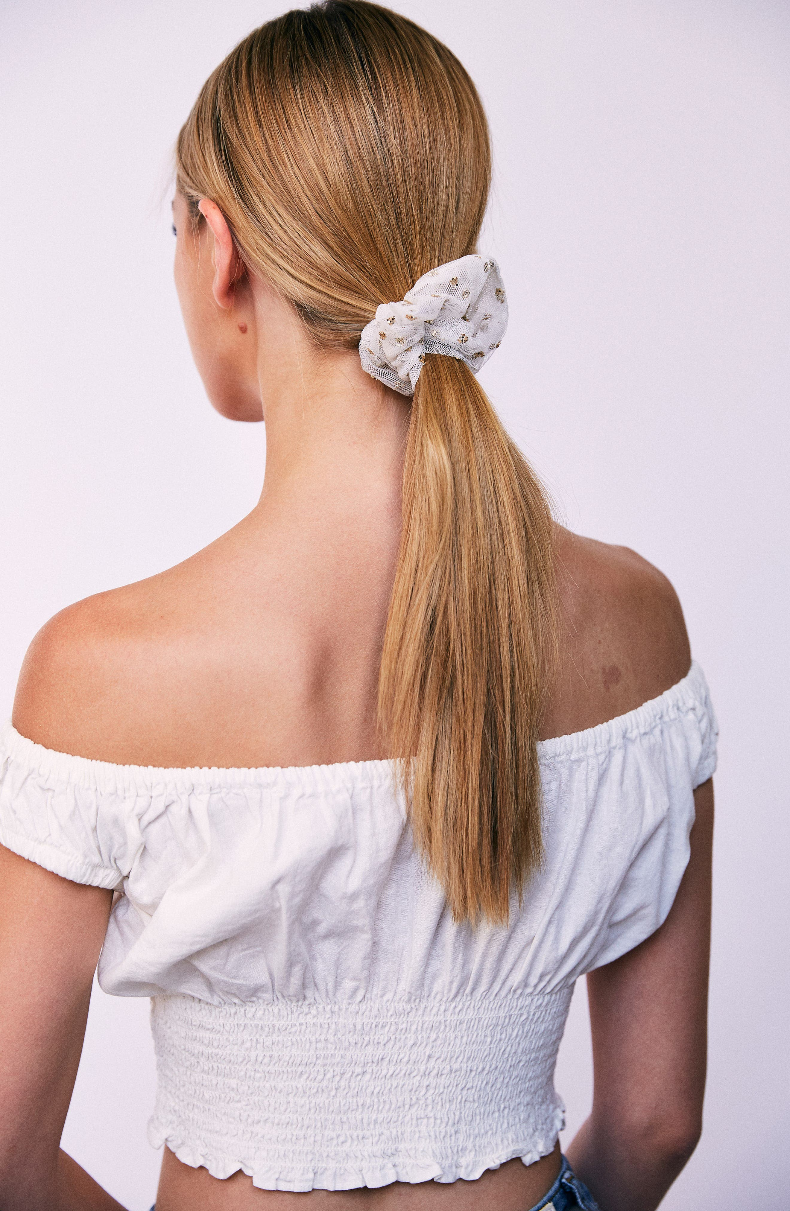 After Party Scrunchie,                             Alternate thumbnail 2, color,                             White/ Gold