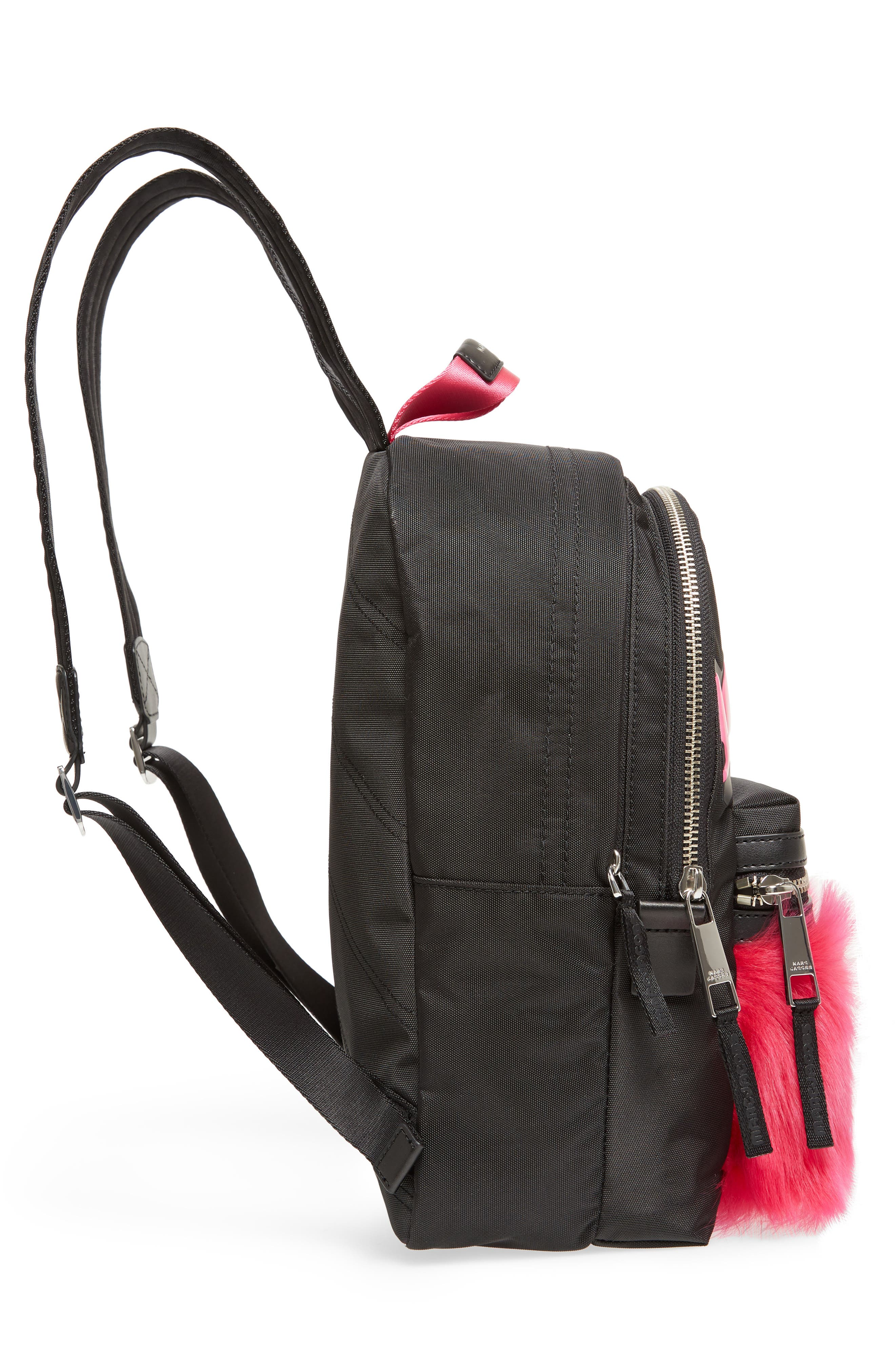 Love Medium Trek Nylon & Genuine Shearling Backpack,                             Alternate thumbnail 5, color,                             Black Multi