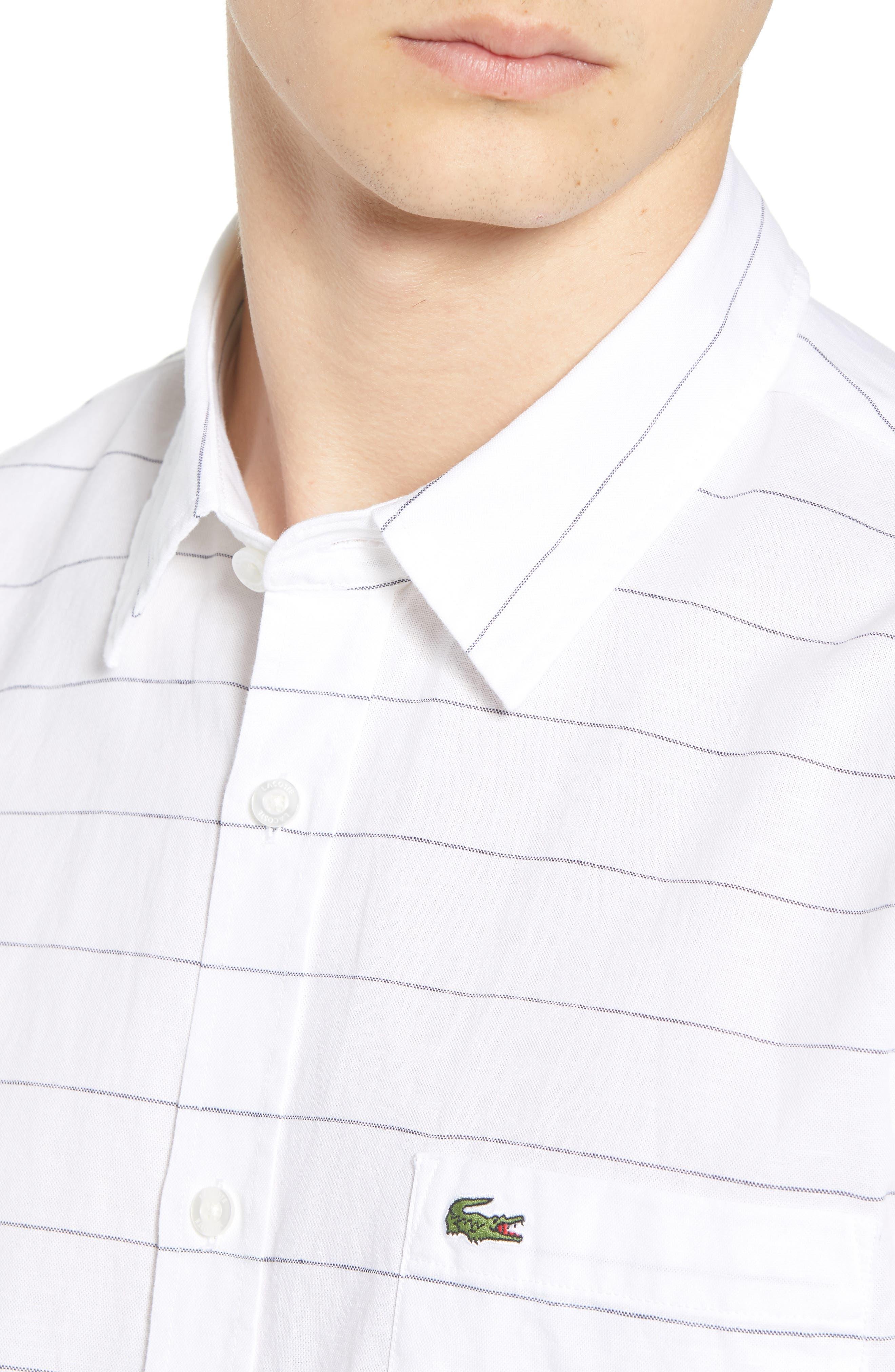Slim Fit Stripe Cotton & Linen Sport Shirt,                             Alternate thumbnail 2, color,                             White
