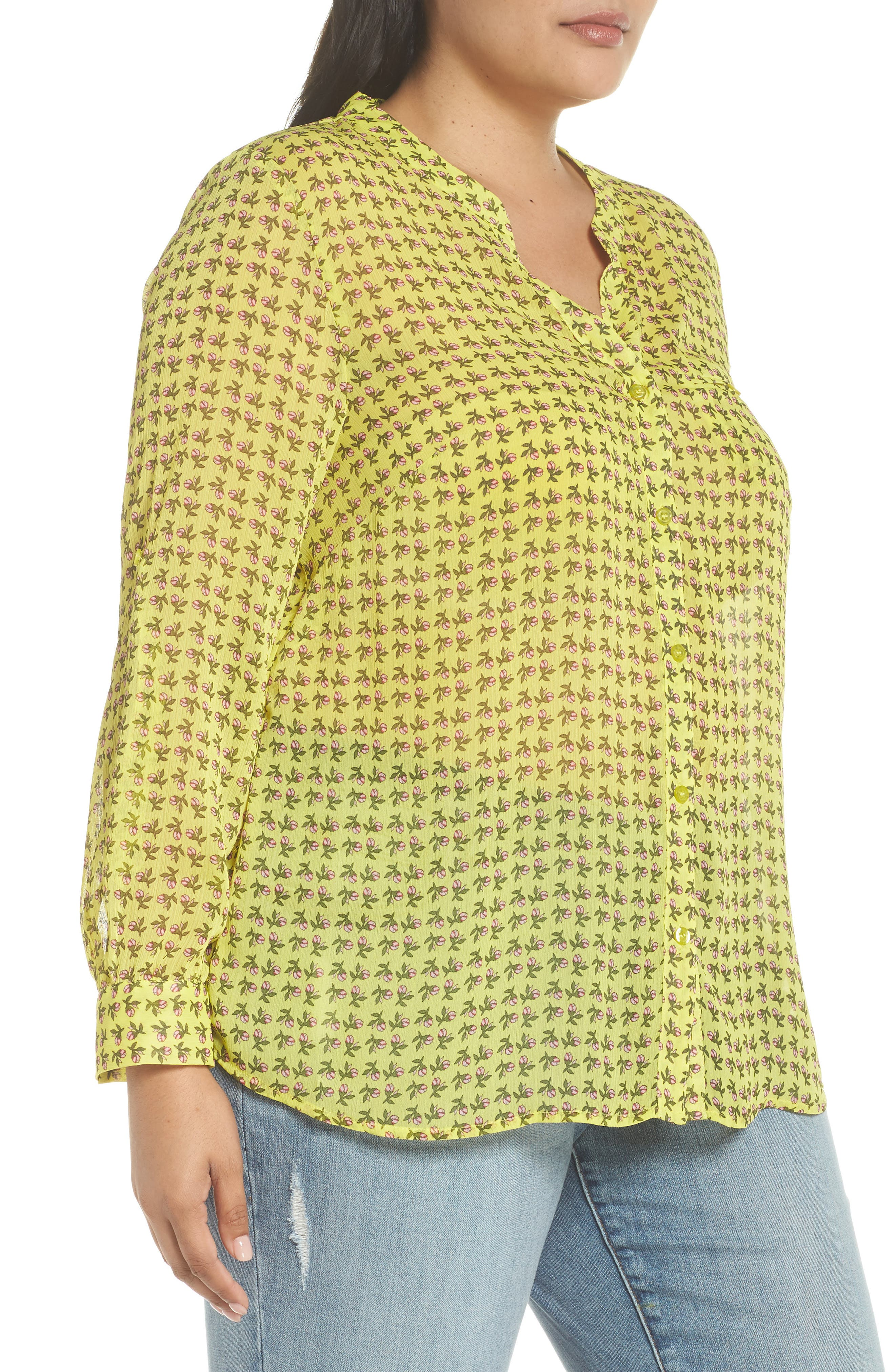 Jasmine Floral Roll Sleeve Top,                             Alternate thumbnail 3, color,                             Bright Yellow