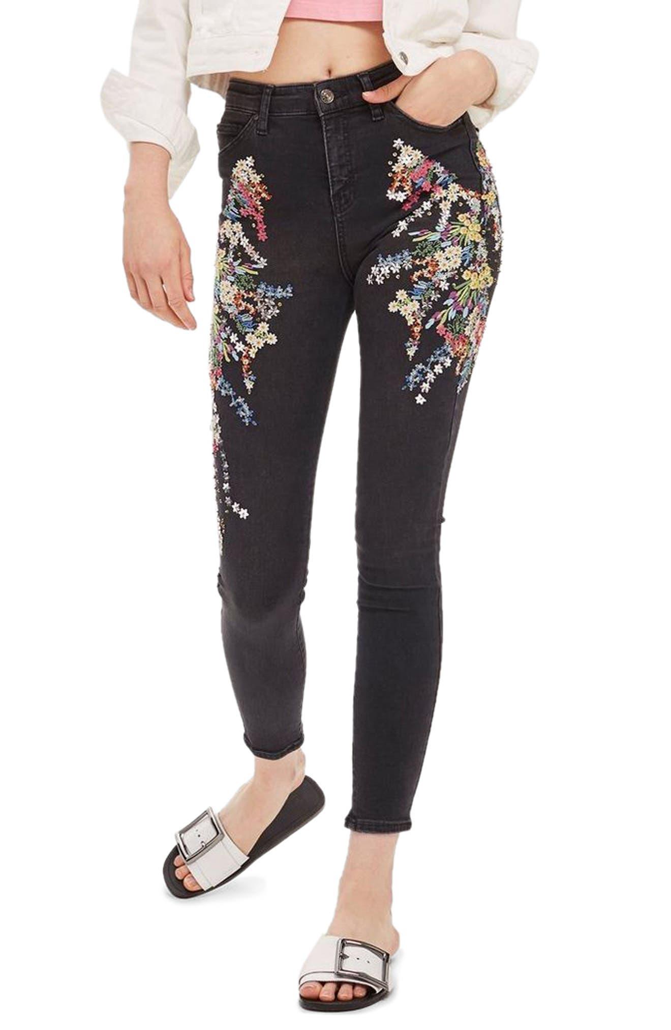 MOTO Jamie Ditsy Embellished Jeans,                             Main thumbnail 1, color,                             Black Multi