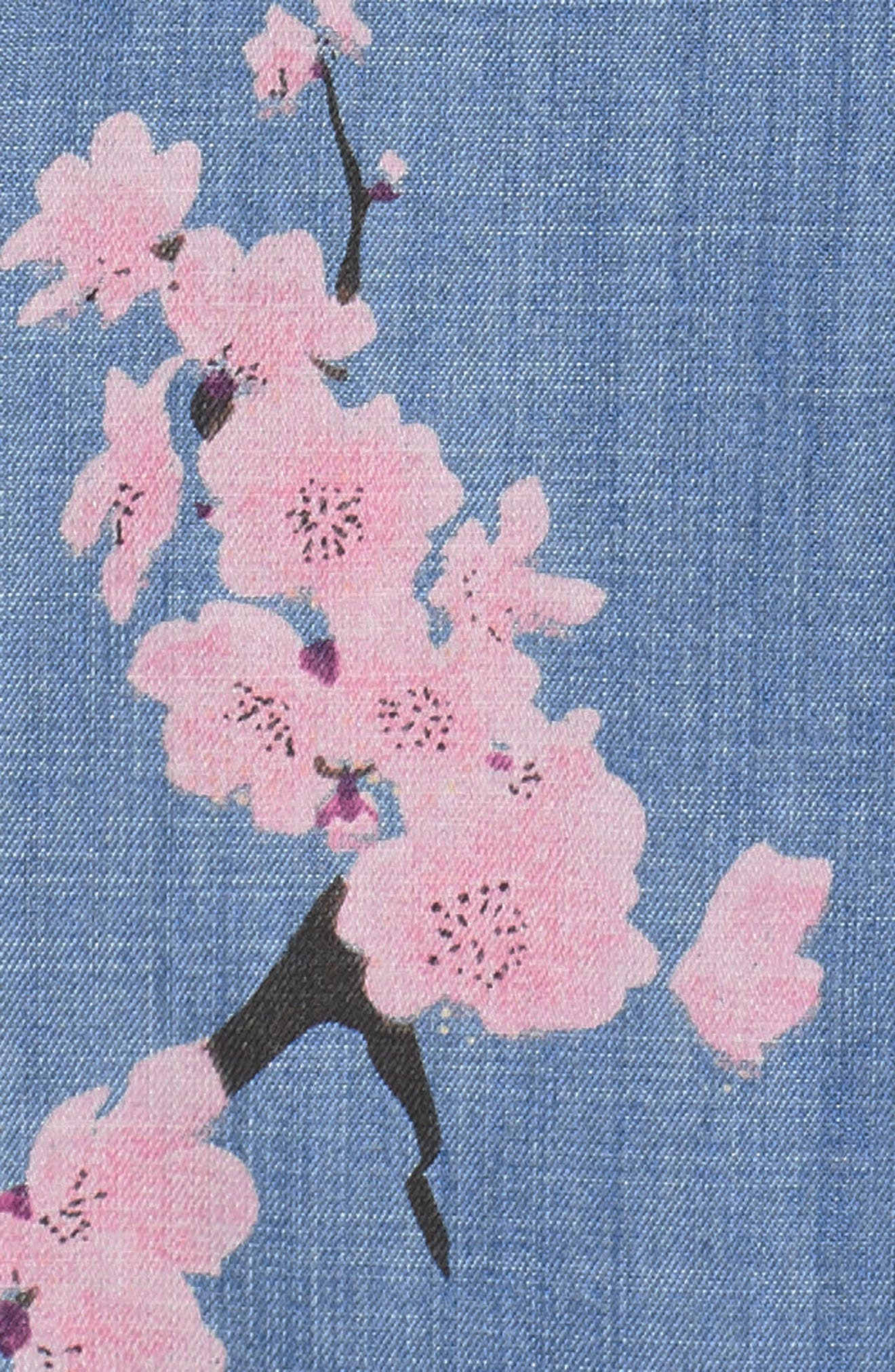 Cherry Blossom Shift Dress,                             Alternate thumbnail 6, color,                             Blue Cherry Blossom