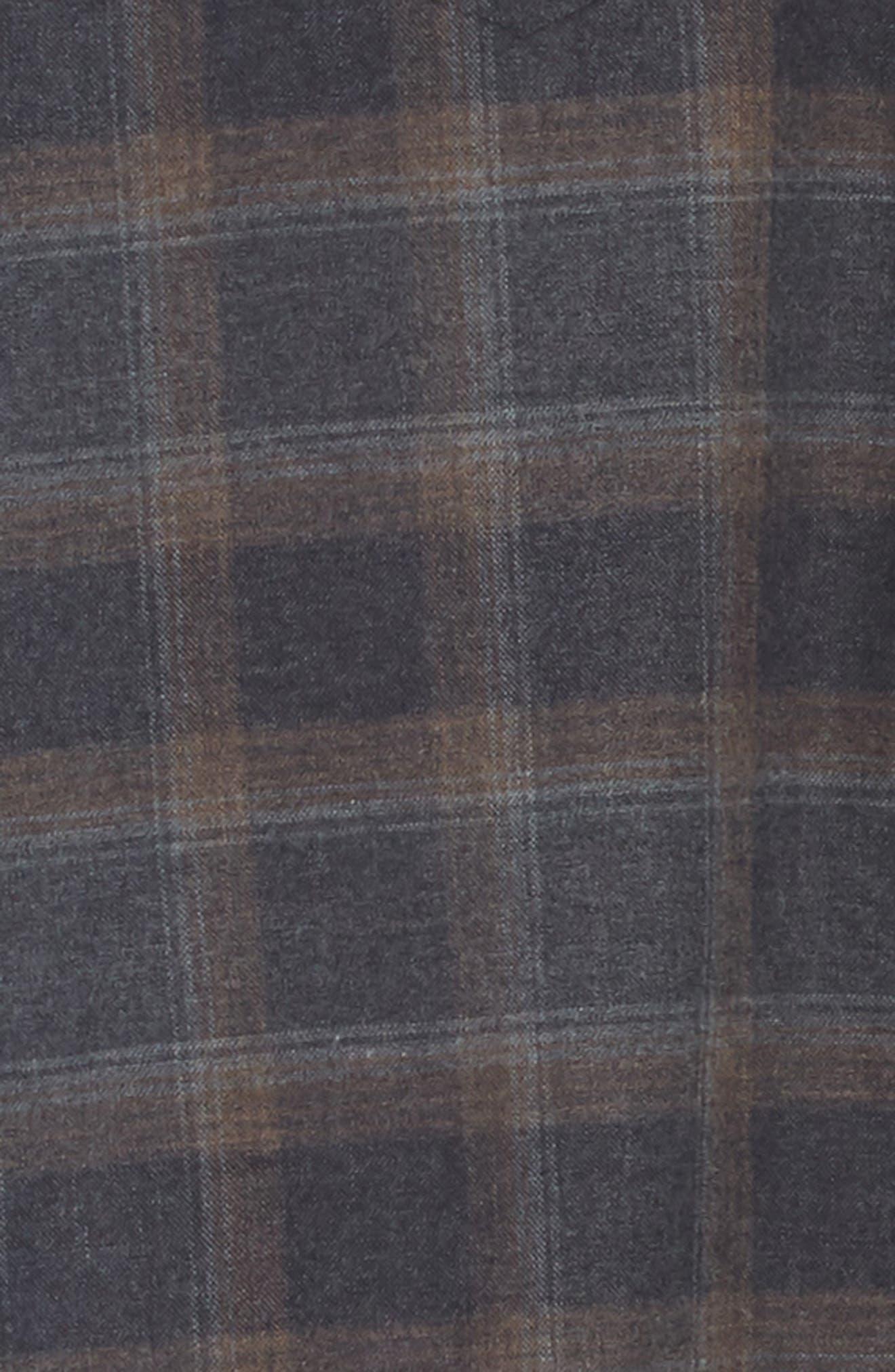 Slim Fit Plaid Western Shirt,                             Alternate thumbnail 3, color,                             Grey/ Brown