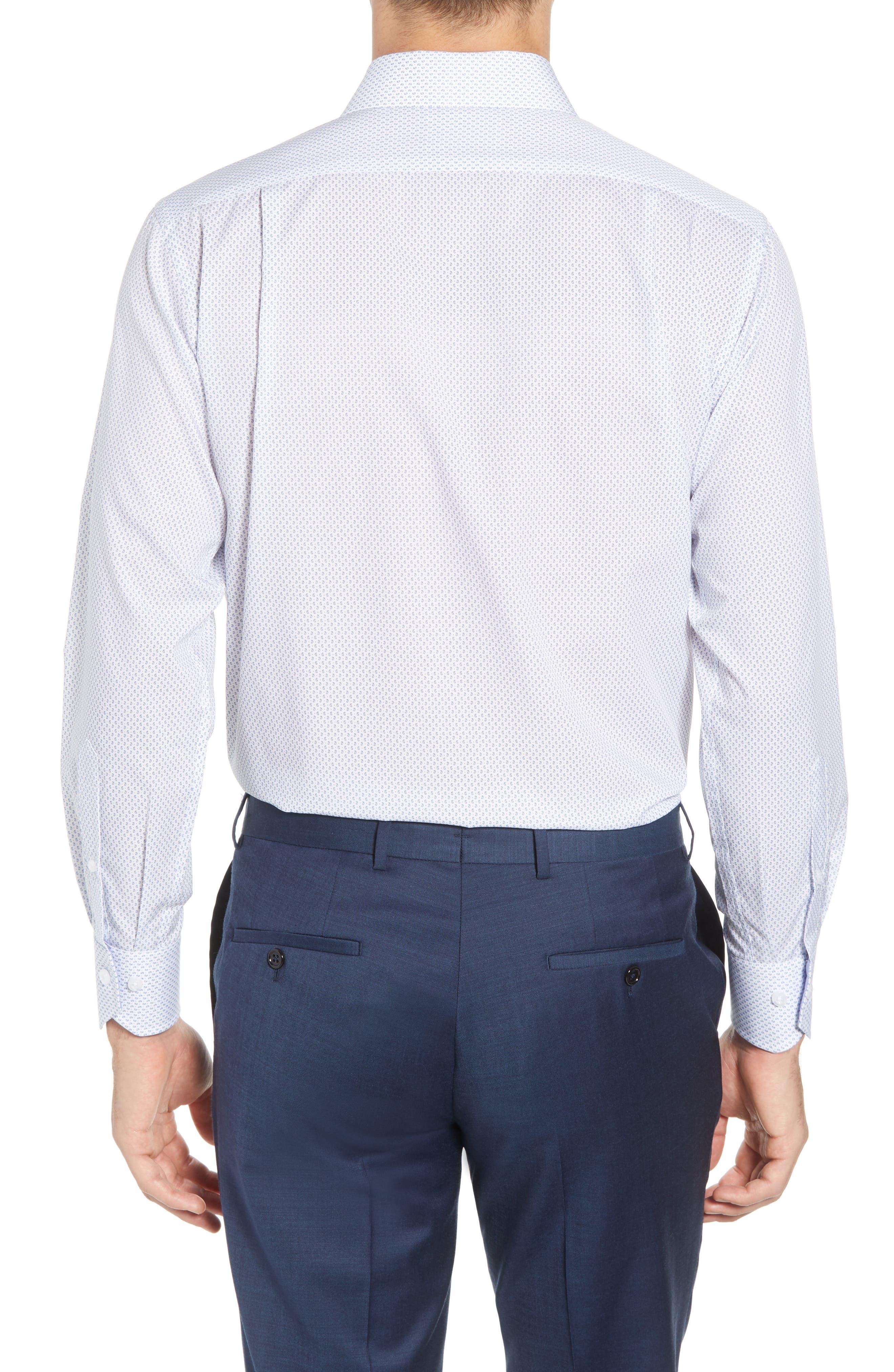 Trim Fit Paisley Dress Shirt,                             Alternate thumbnail 3, color,                             White/ Blue