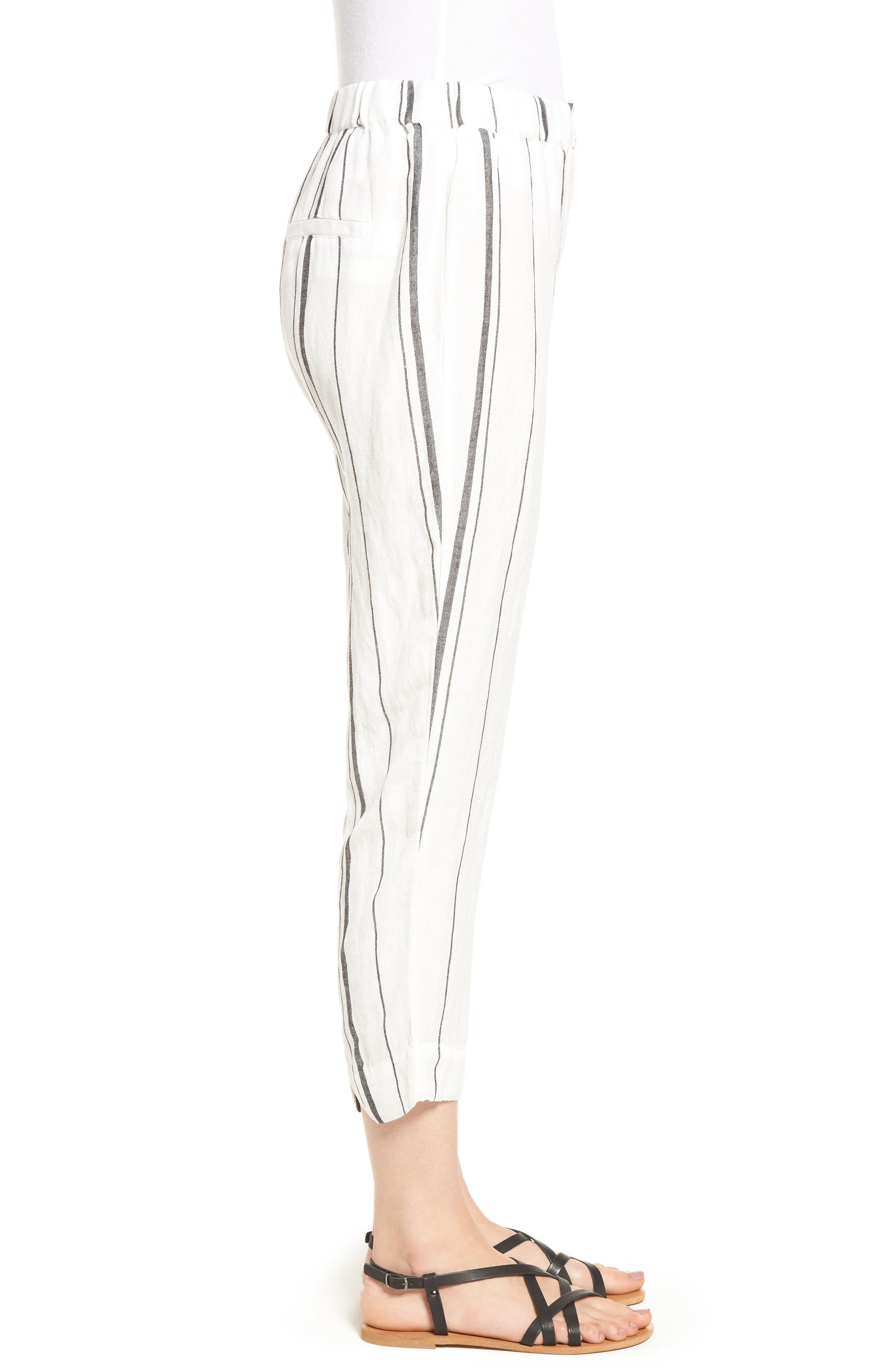 Annika Stripe Crop Pants,                             Alternate thumbnail 3, color,                             Black/ White