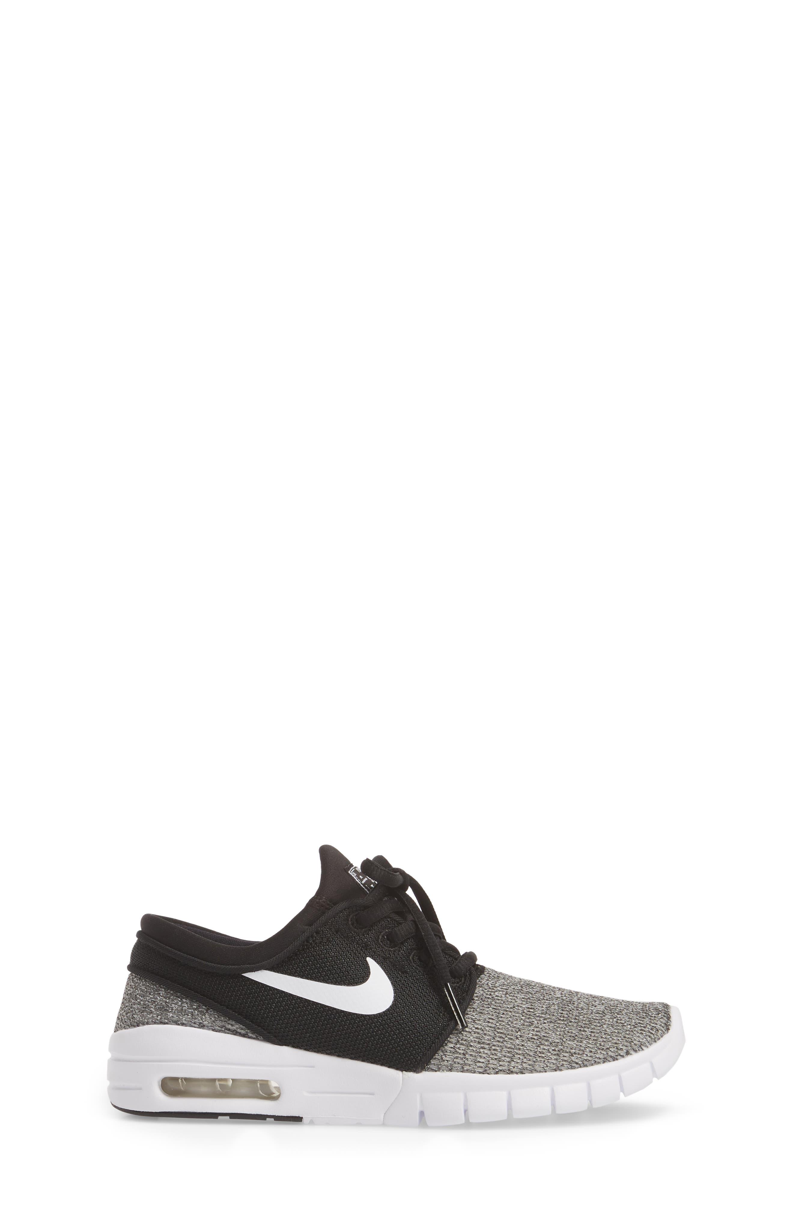 Stefan Janoski Max SB Skate Sneaker,                             Alternate thumbnail 3, color,                             Black/ White/ White