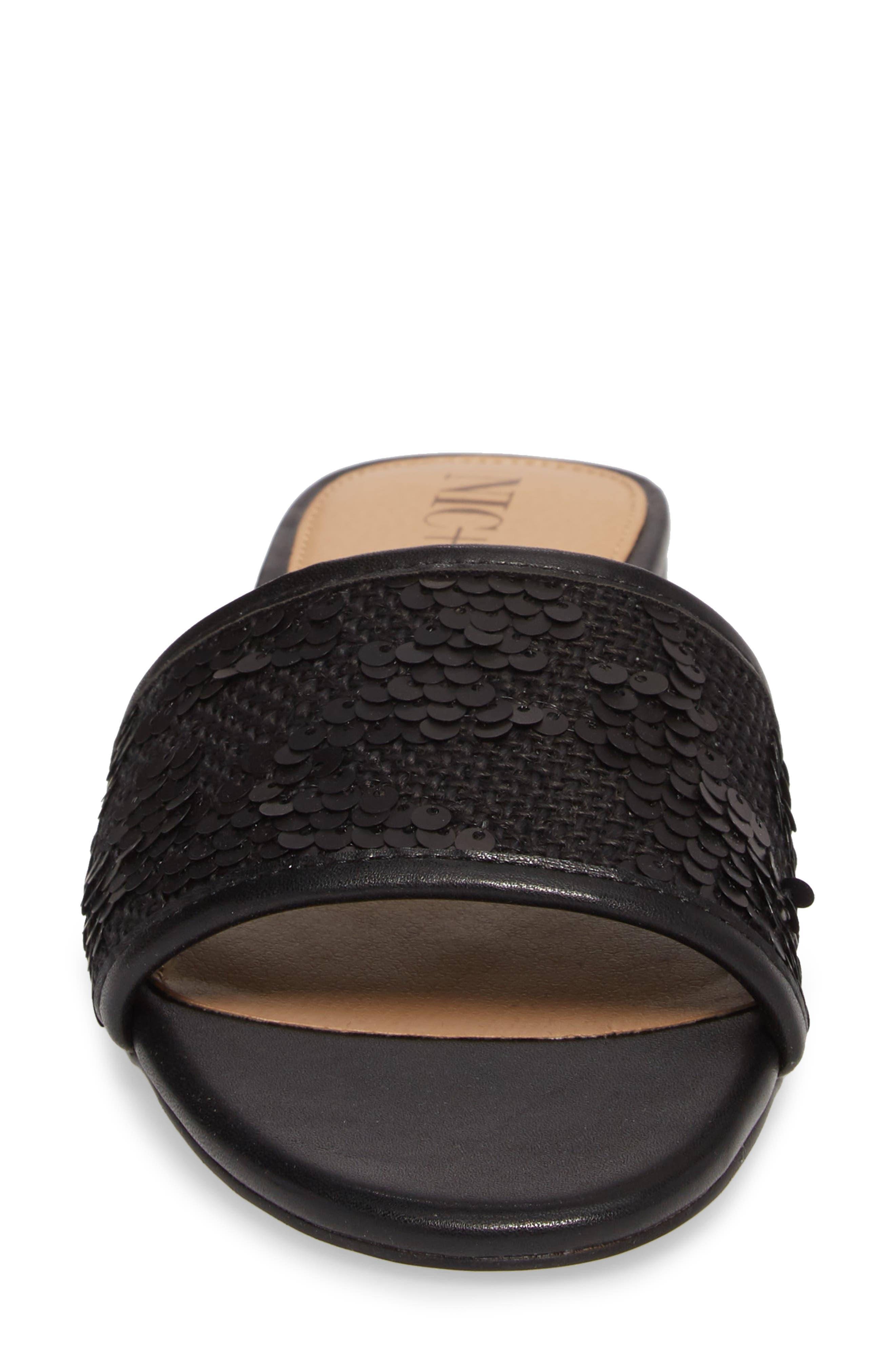 NIC + ZOE Sandy Sequin Low Heel Slide,                             Alternate thumbnail 4, color,                             Black Fabric
