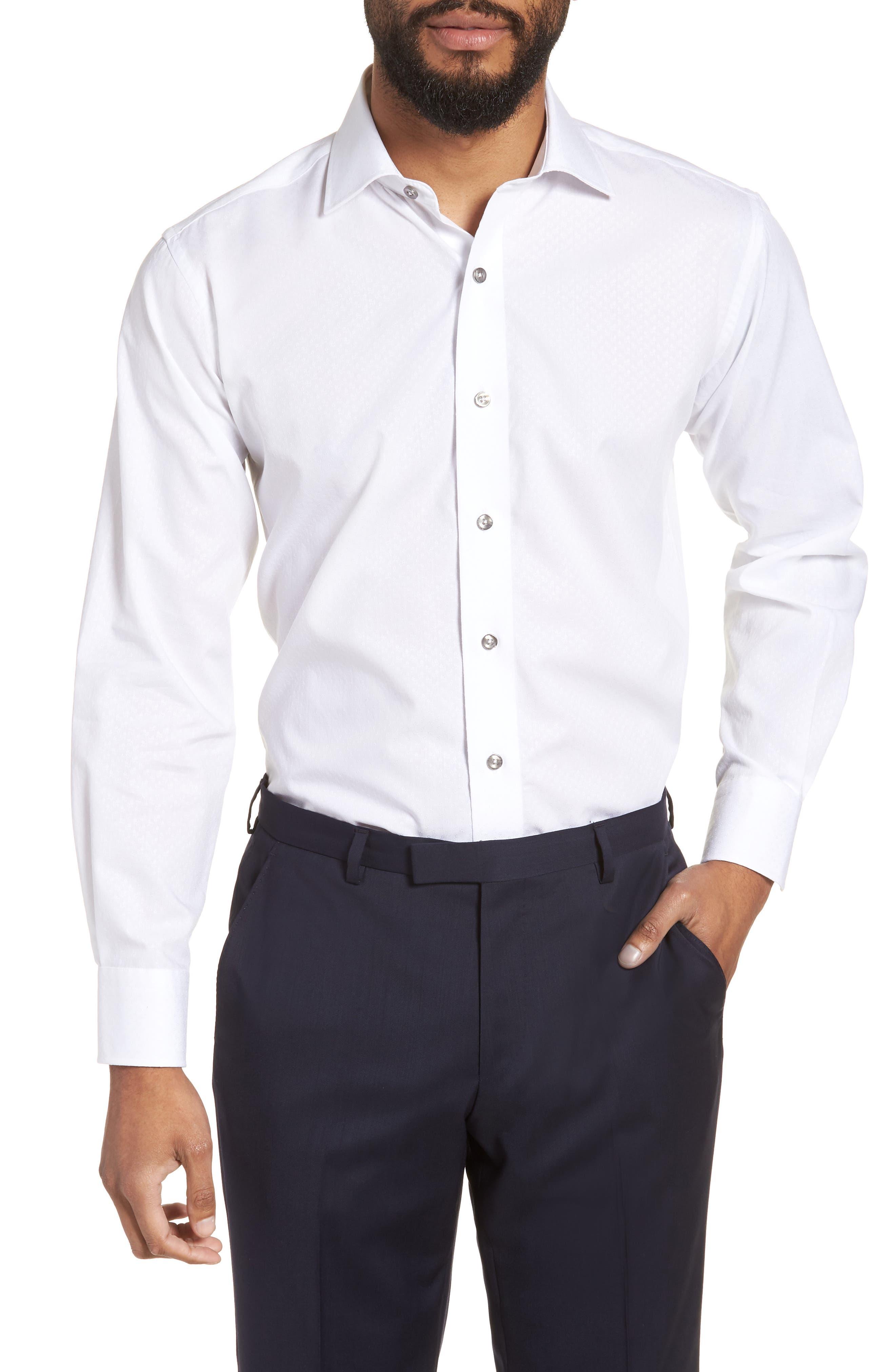 Trim Fit Floral Dress Shirt,                             Main thumbnail 1, color,                             White