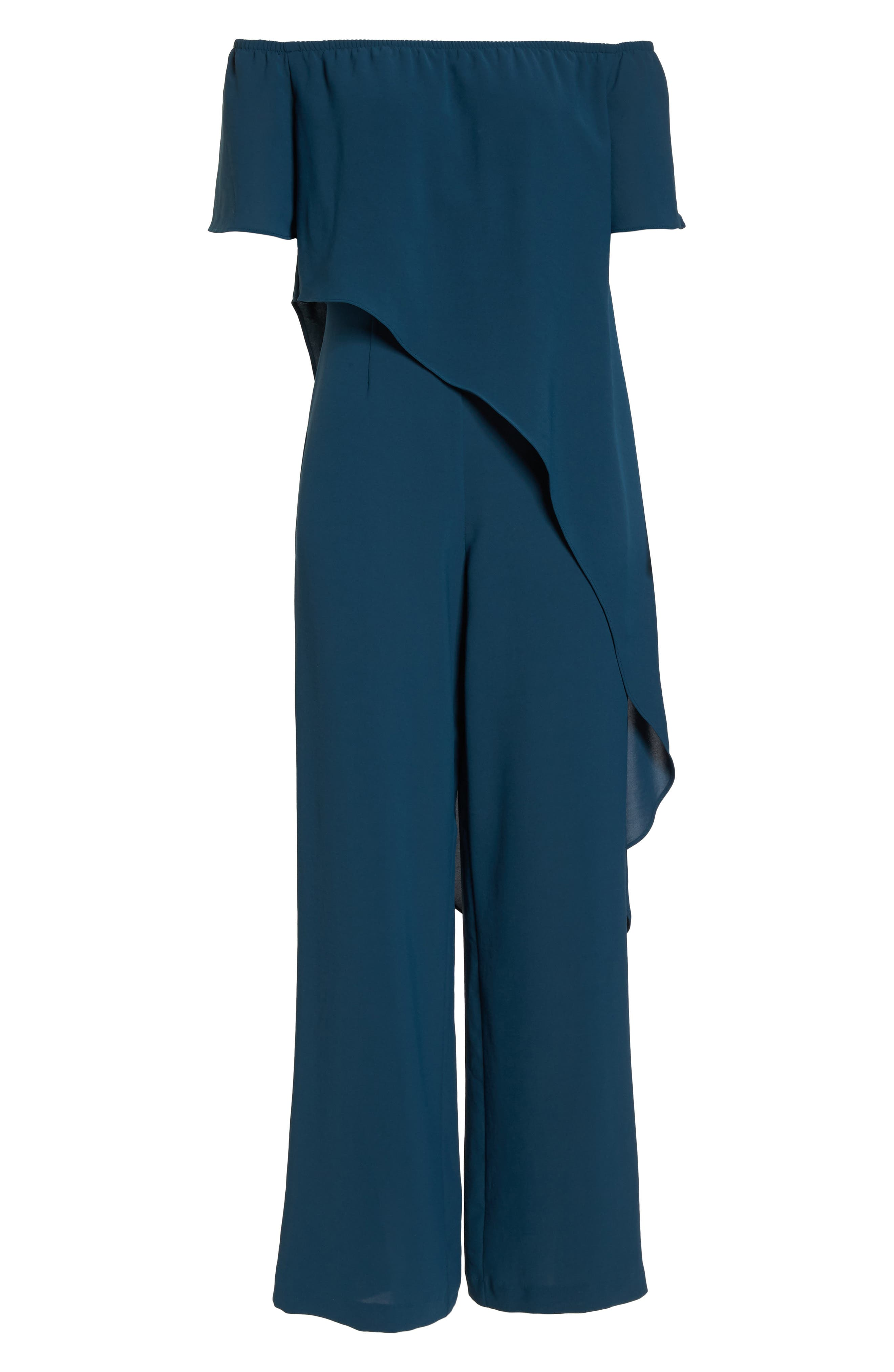 Off the Shoulder Crepe Jumpsuit,                             Alternate thumbnail 7, color,                             Midnight Jungle