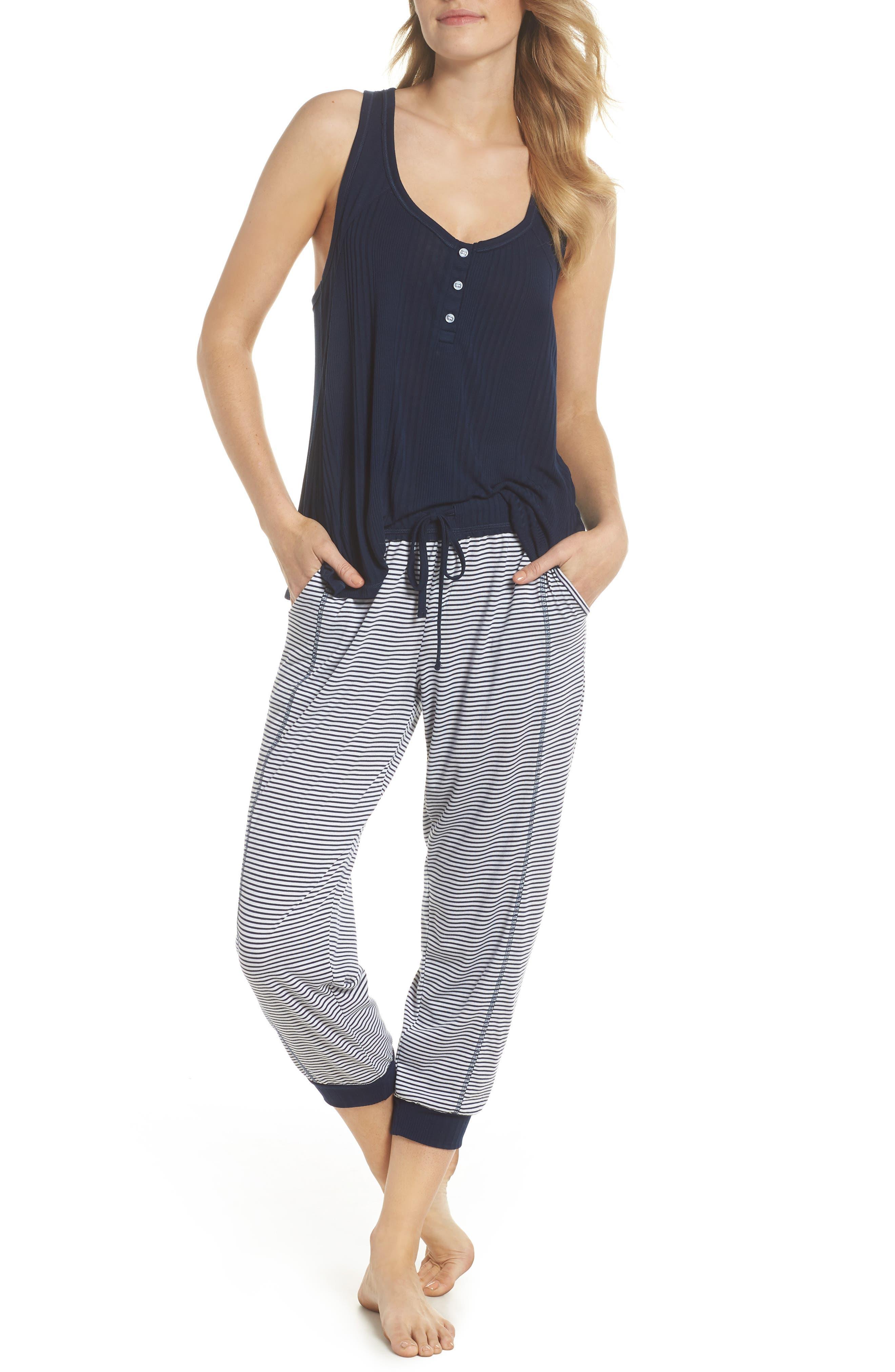 Crop Pajama Pants,                             Alternate thumbnail 4, color,                             Lakeside Stripe