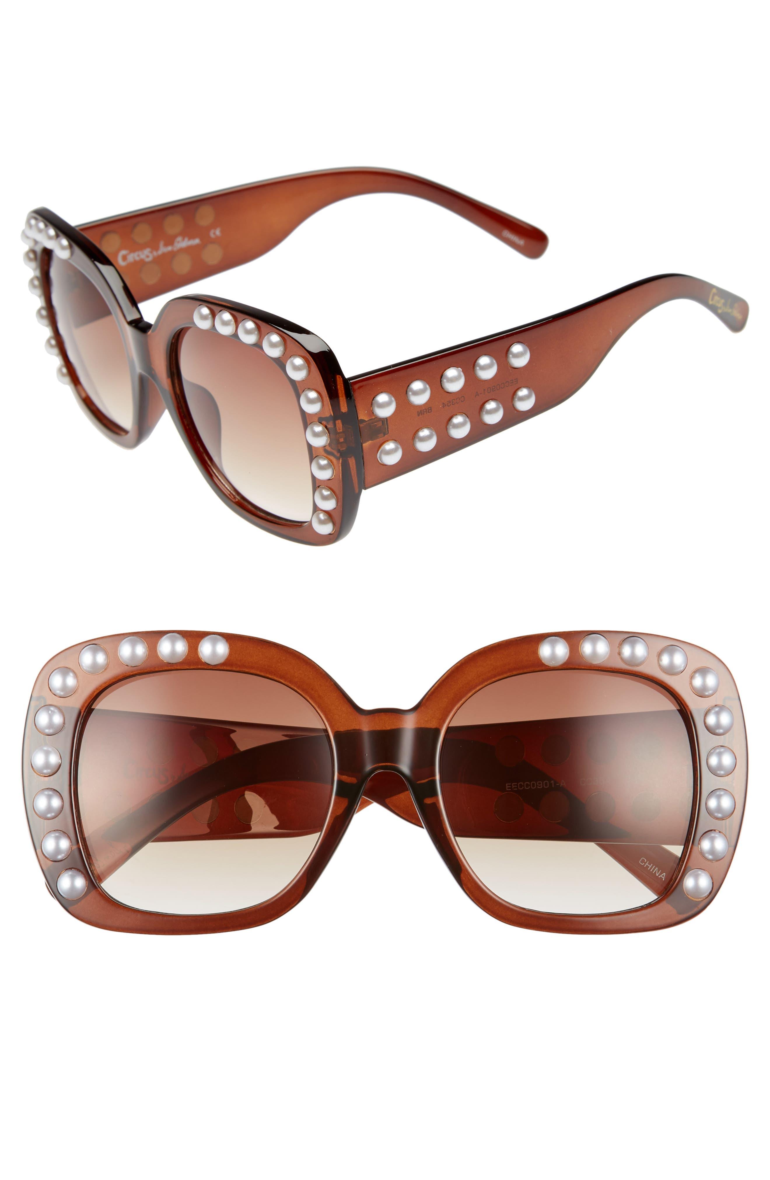 53mm Imitation Pearl Sunglasses,                             Main thumbnail 1, color,                             Brown