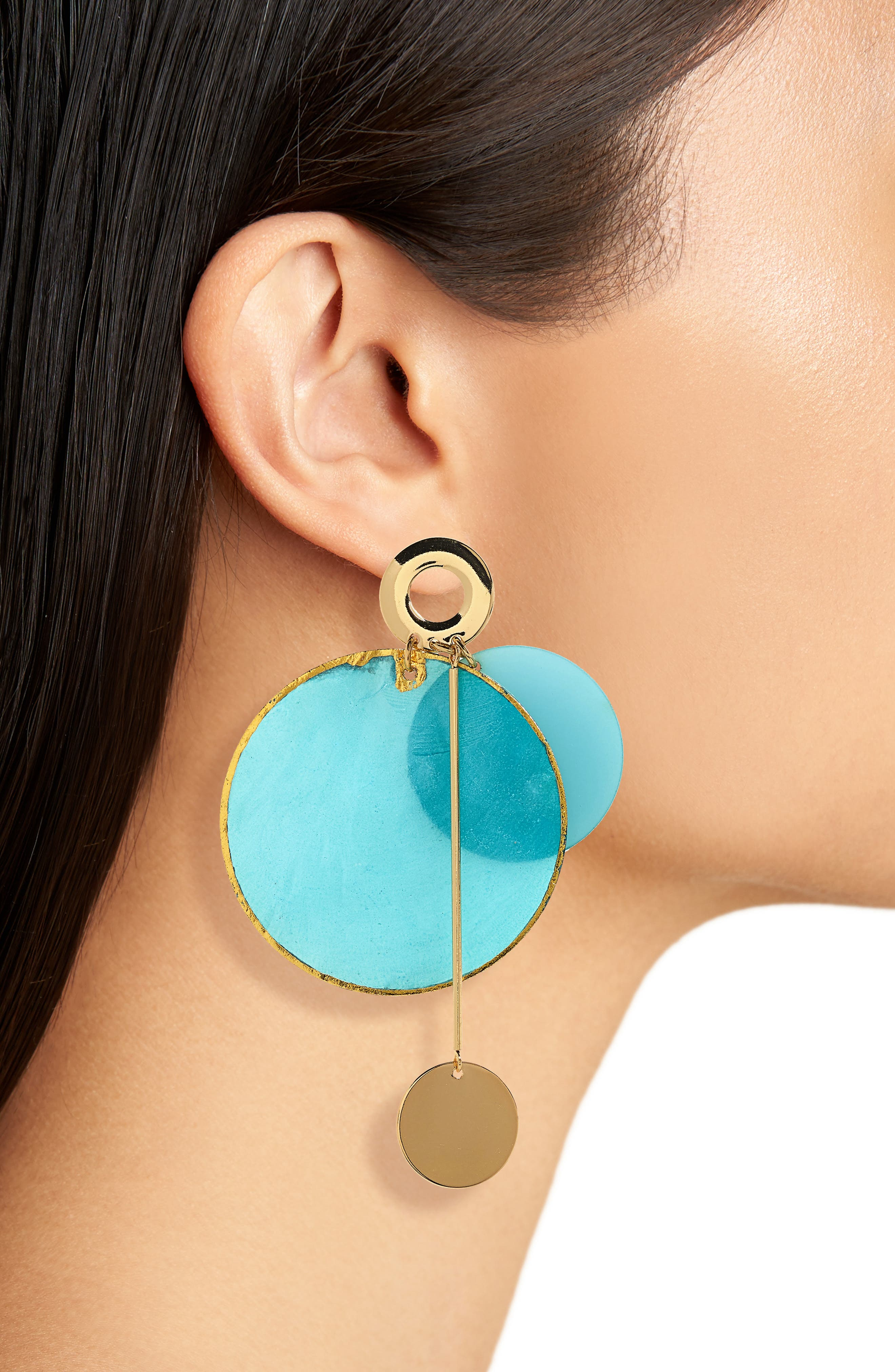Acetate & Metal Disc Earrings,                             Alternate thumbnail 2, color,                             Gold/ Turquoise