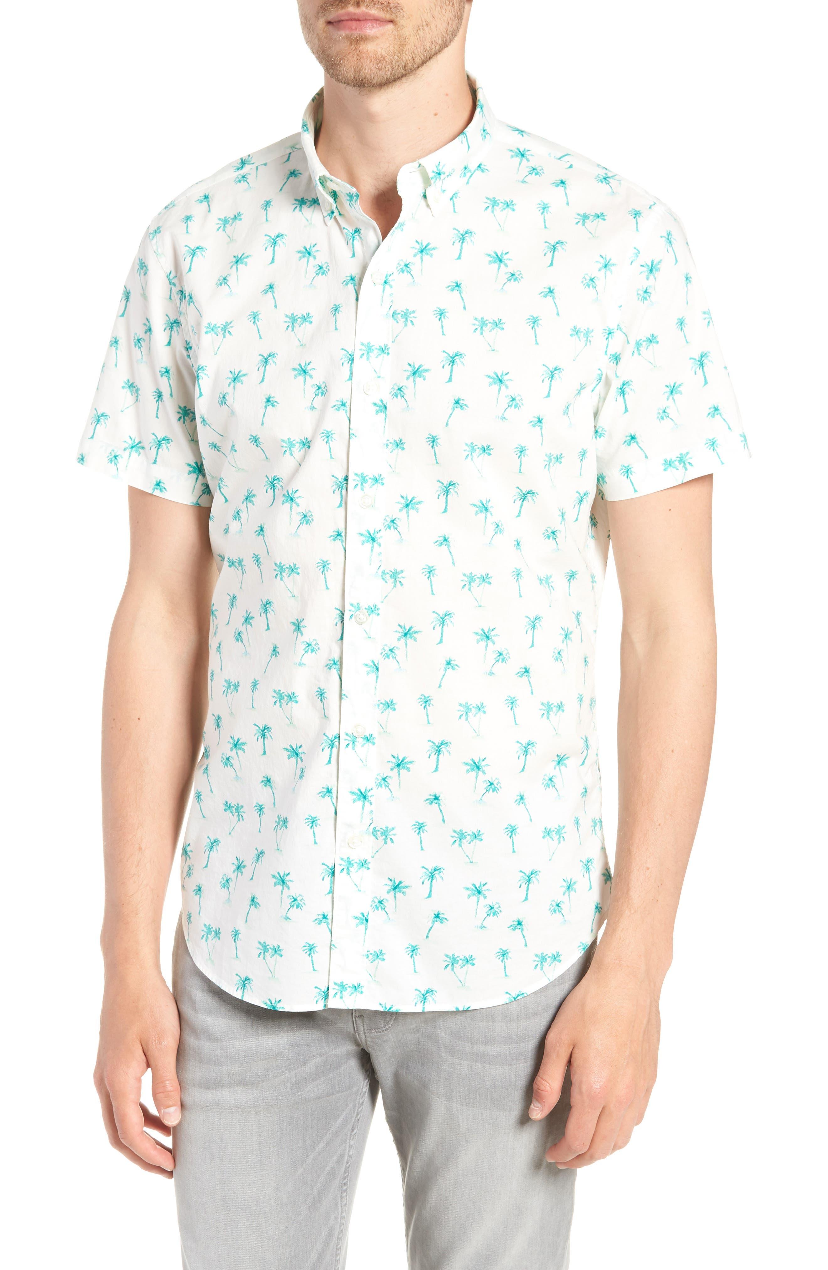 Riviera Slim Fit Palm Print Sport Shirt,                         Main,                         color, Dreamy Palm - Latigo Bay