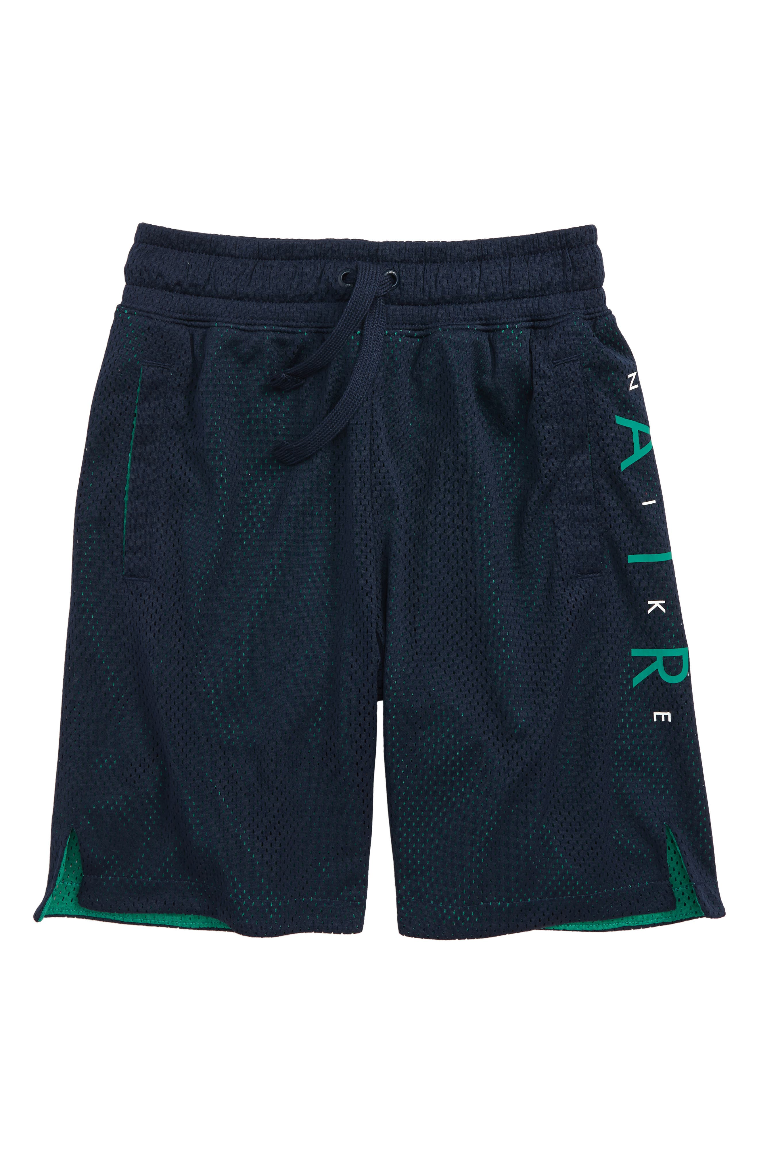 Sportswear Air Knit Shorts,                             Main thumbnail 1, color,                             Obsidian/ Green Noise