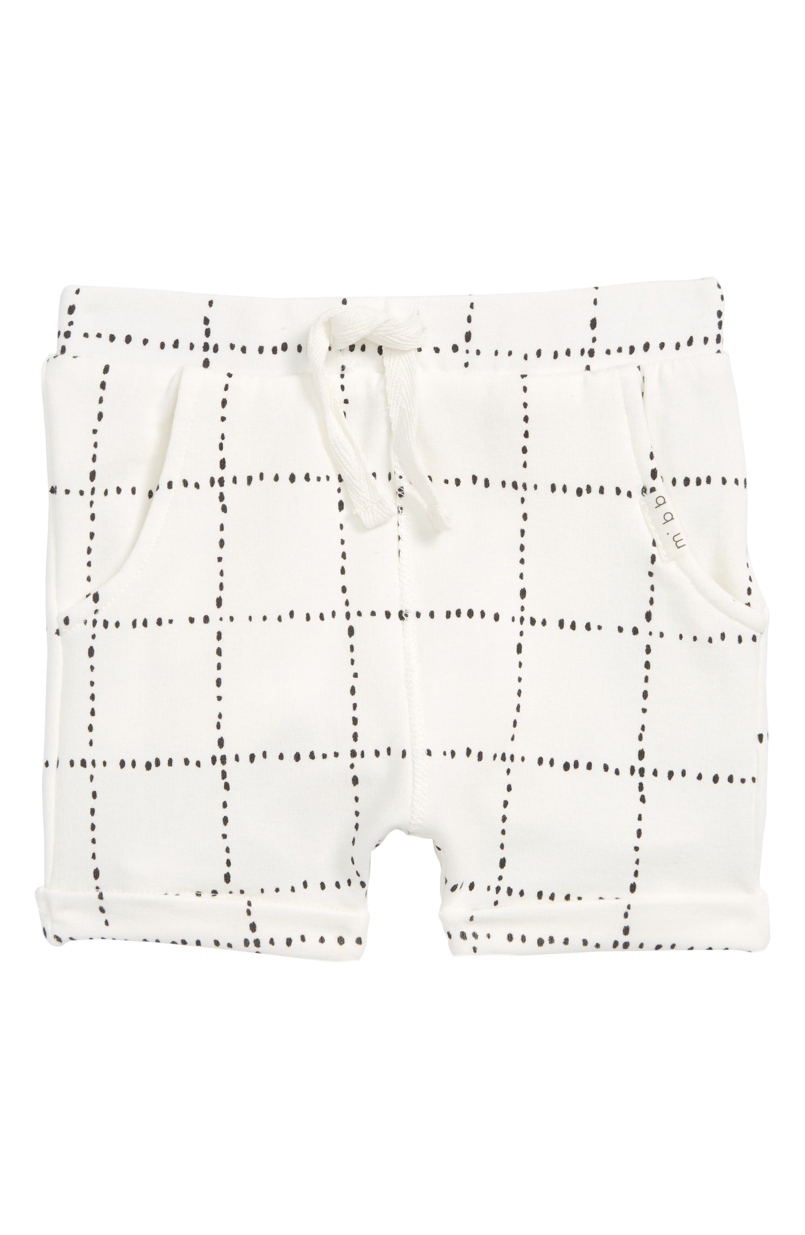 Check Print Shorts,                         Main,                         color, Off White