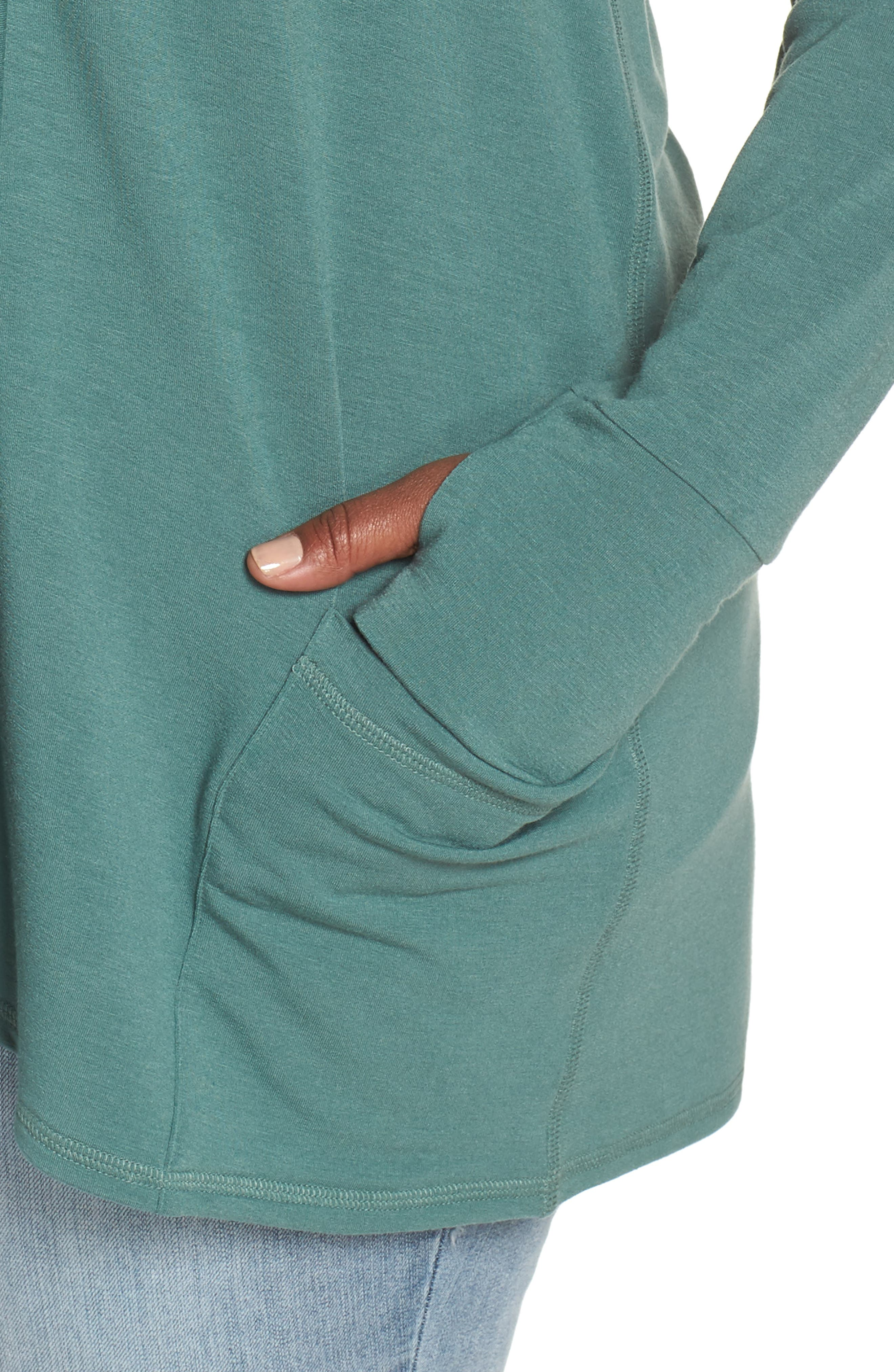 Off-Duty French Terry Cardigan,                             Alternate thumbnail 4, color,                             Green Duck
