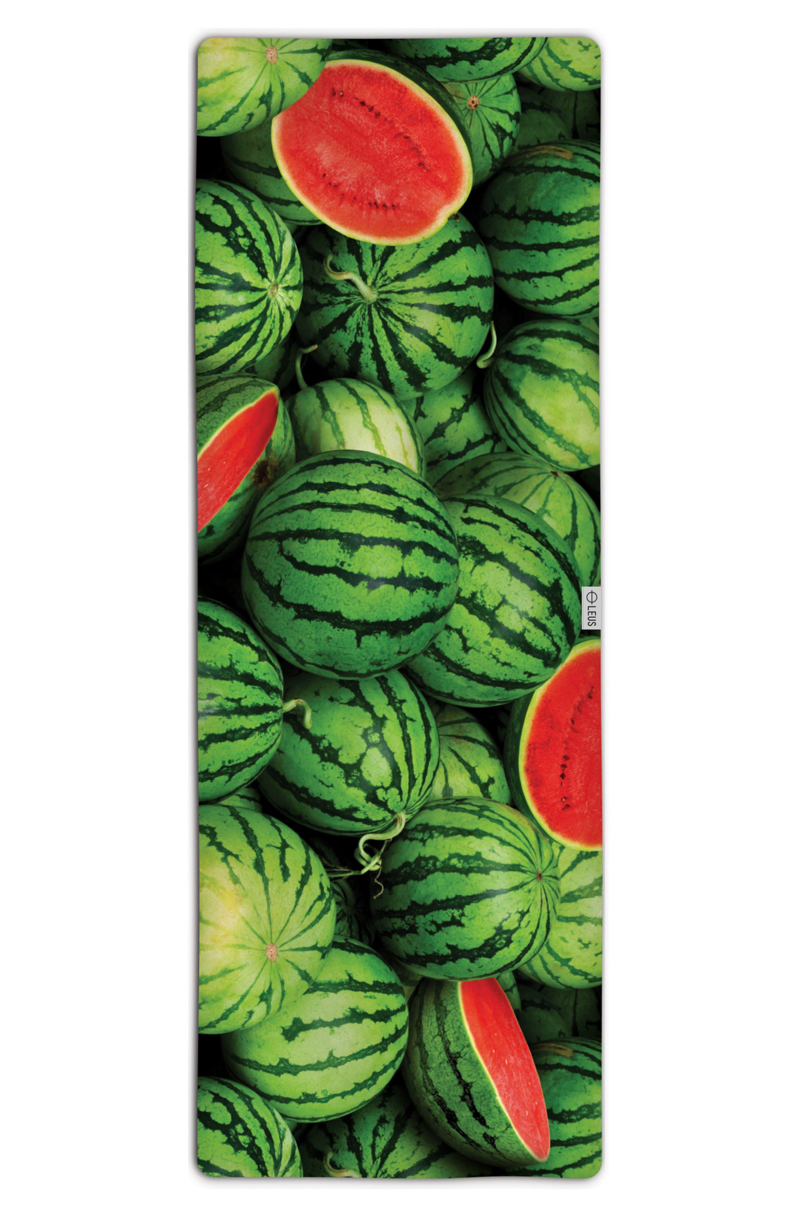 Watermelon Yoga Mat Towel,                             Main thumbnail 1, color,                             Green