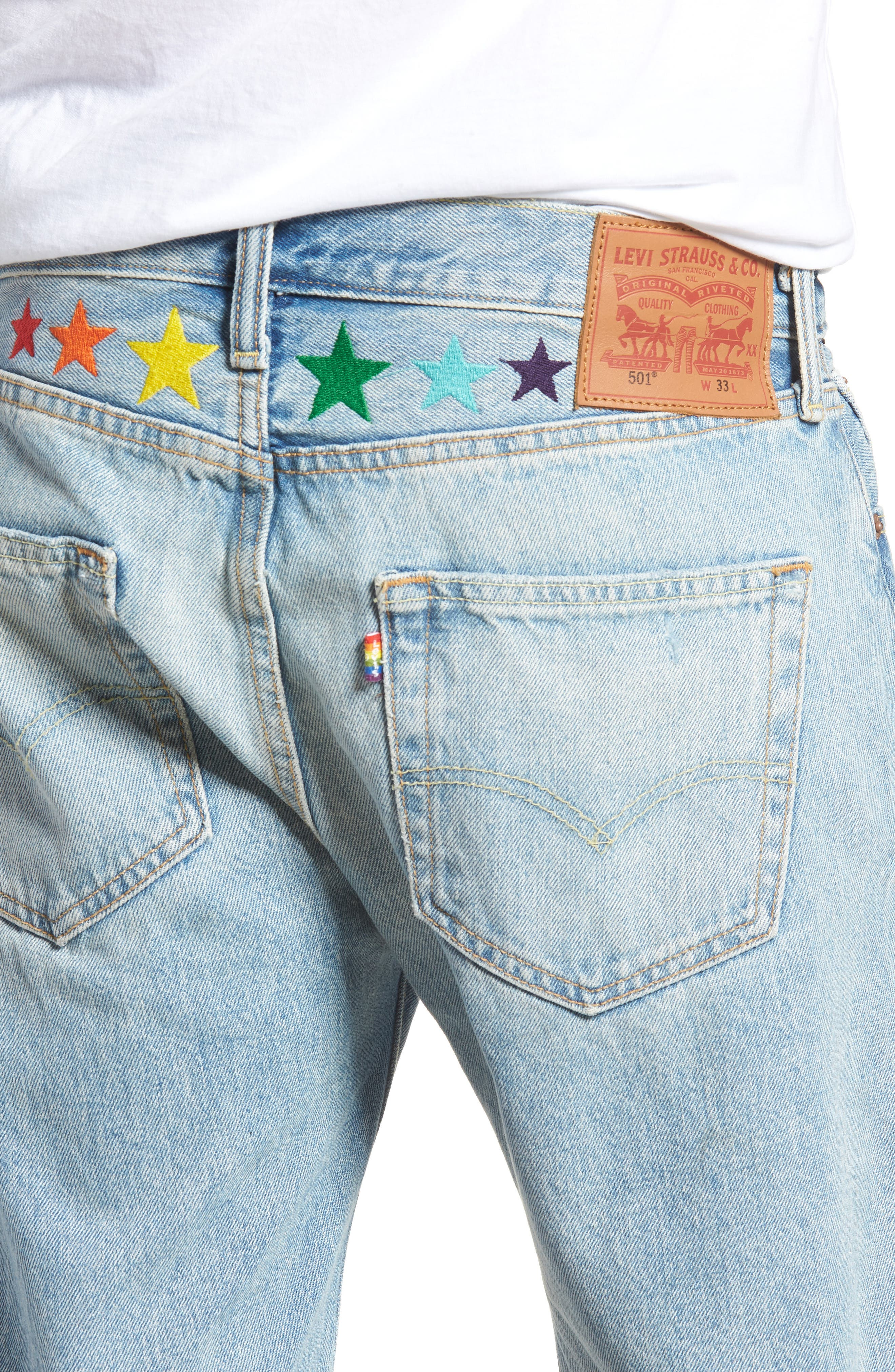 501<sup>™</sup> Cutoff Denim Shorts,                             Alternate thumbnail 4, color,                             Love To All