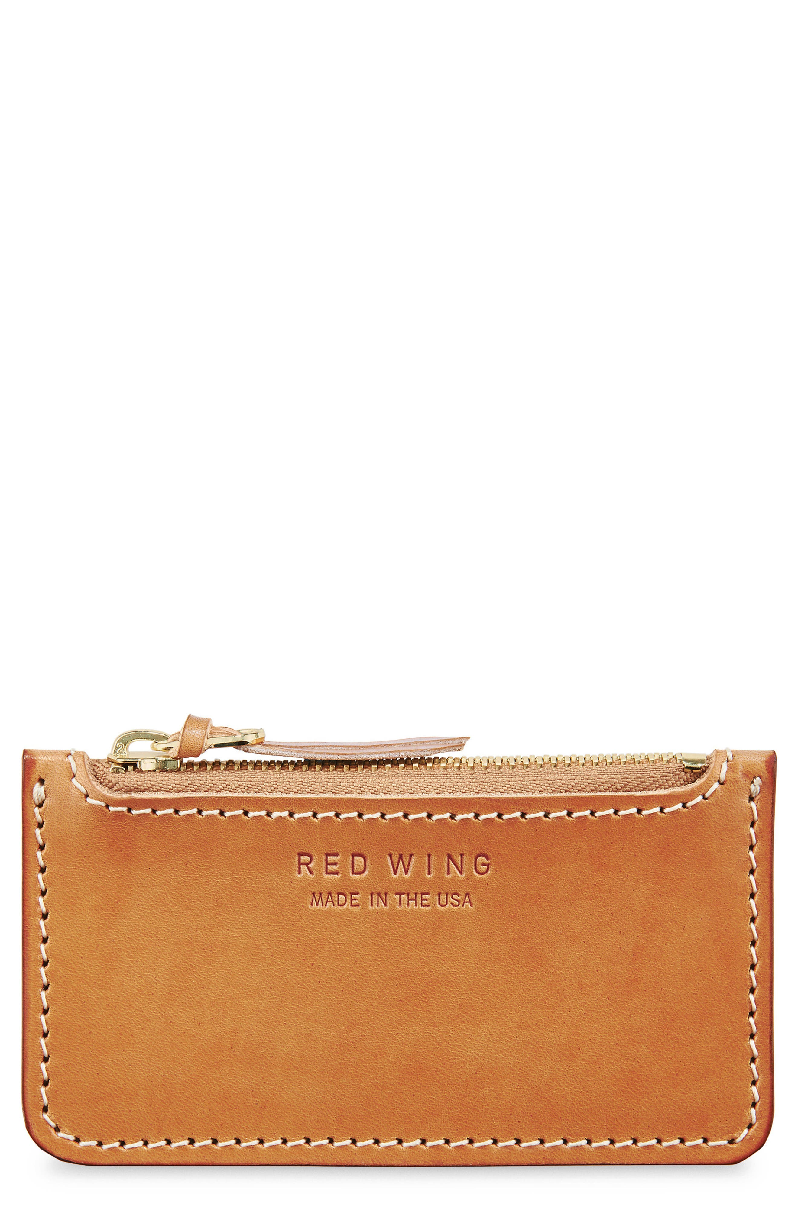 Once Leather Zipper Pouch,                             Main thumbnail 1, color,                             Tanned Vegetable