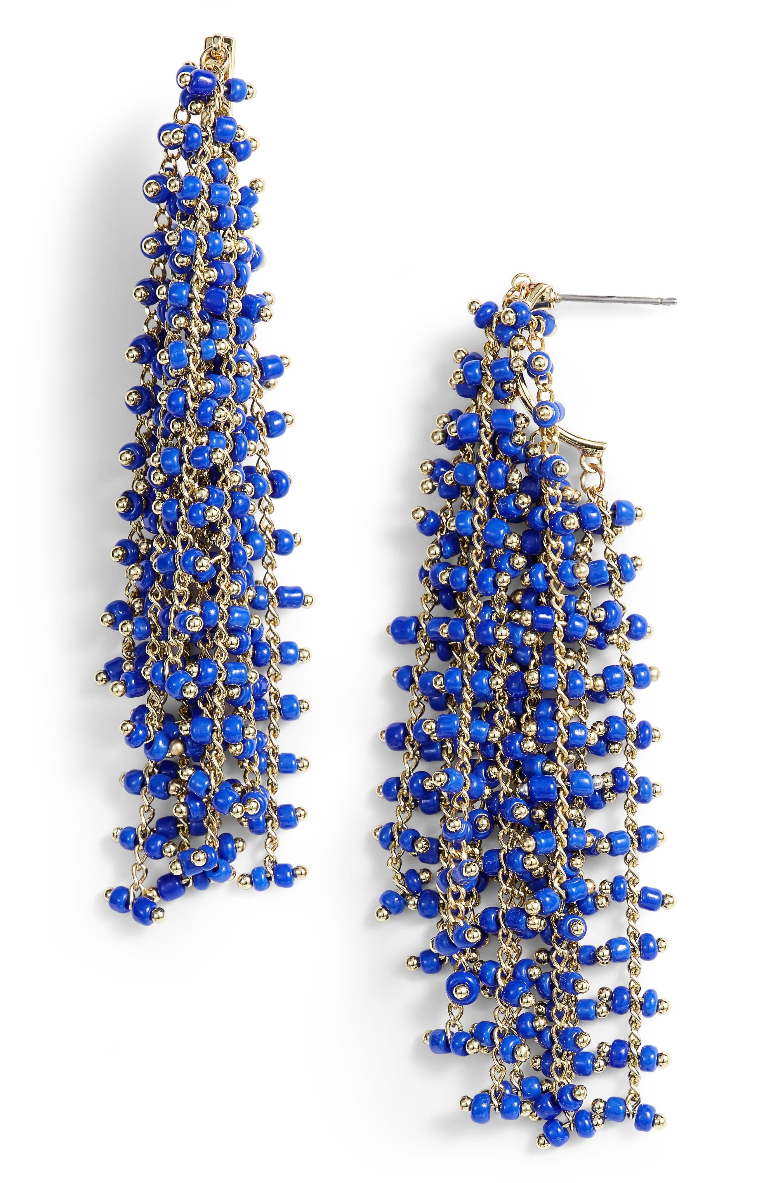 Beaded Fringe Earrings,                         Main,                         color, Gold/ Blue