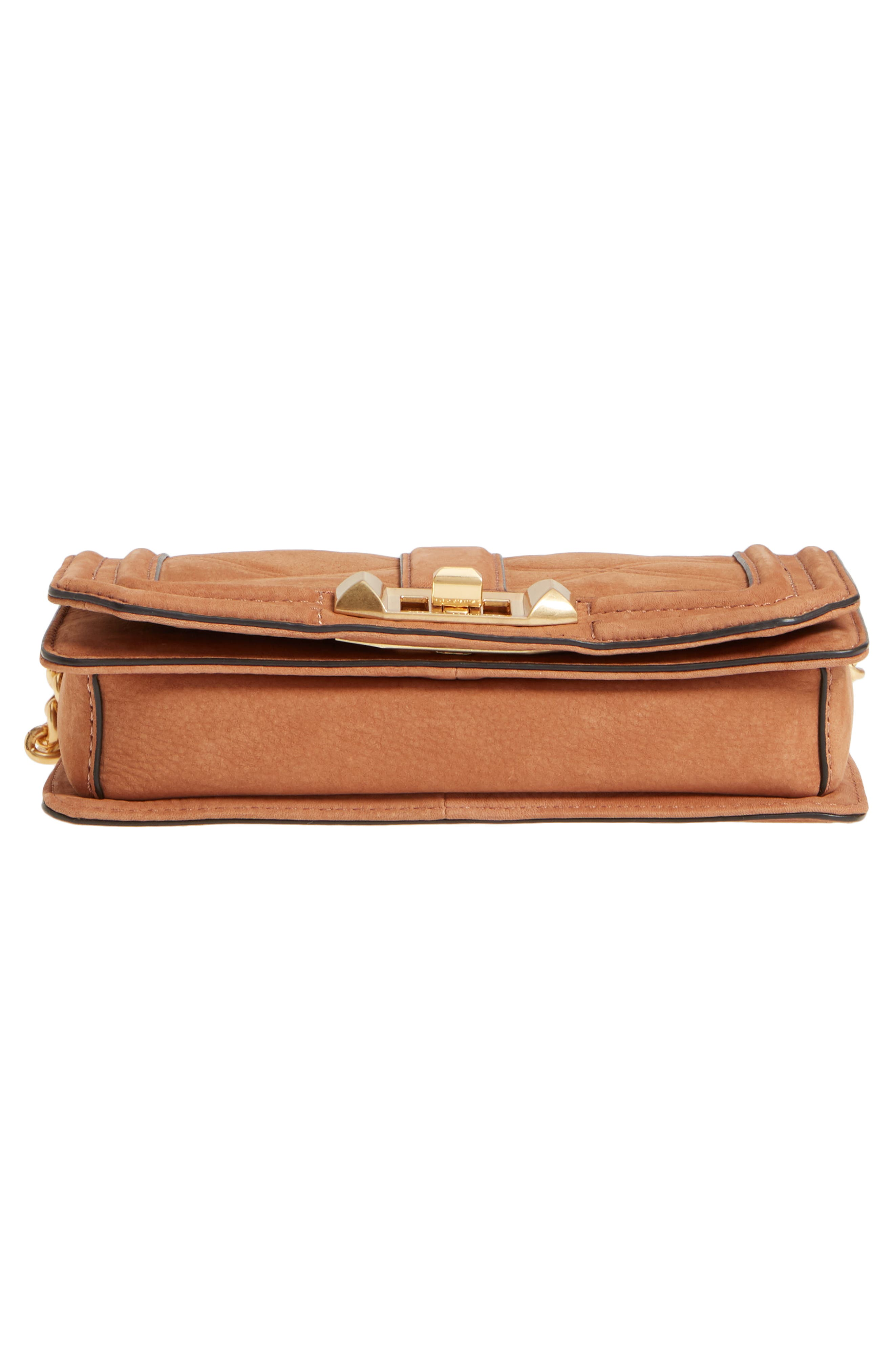 Small Love Nubuck Leather Crossbody Bag,                             Alternate thumbnail 7, color,                             Almond