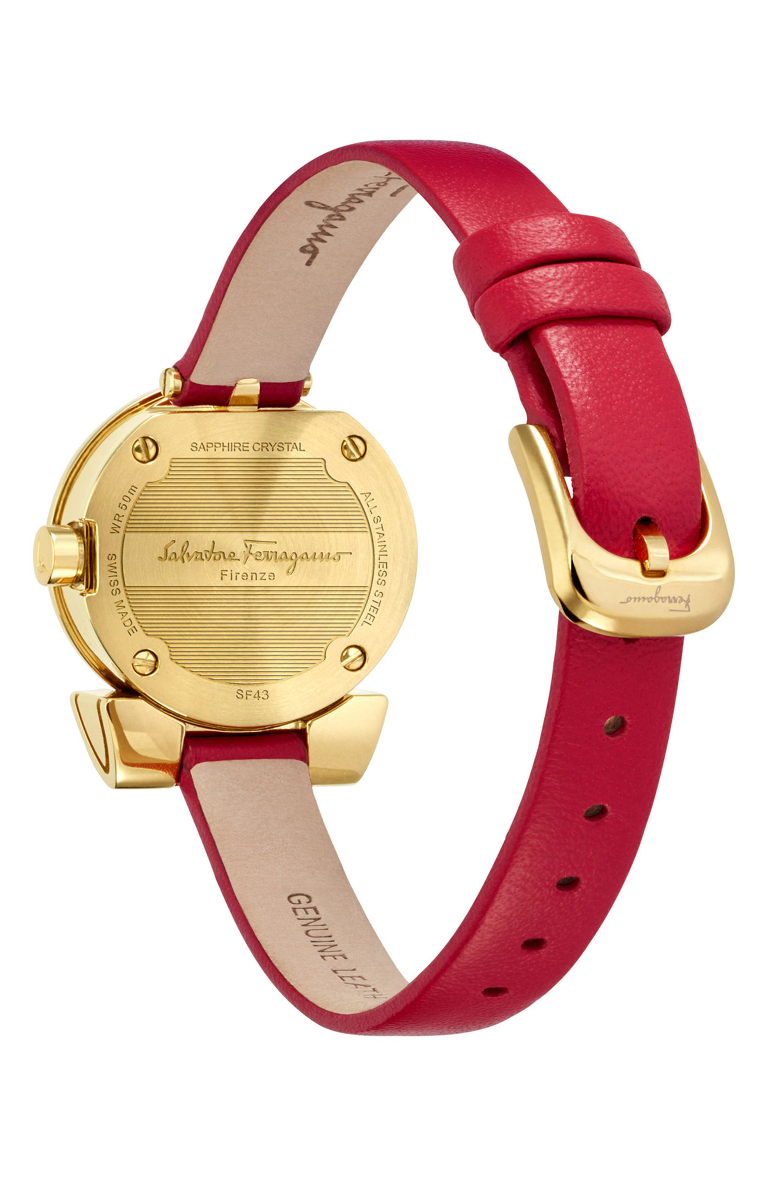 Gancino Leather Strap Watch, 22mm,                             Alternate thumbnail 2, color,                             Red/ Gold