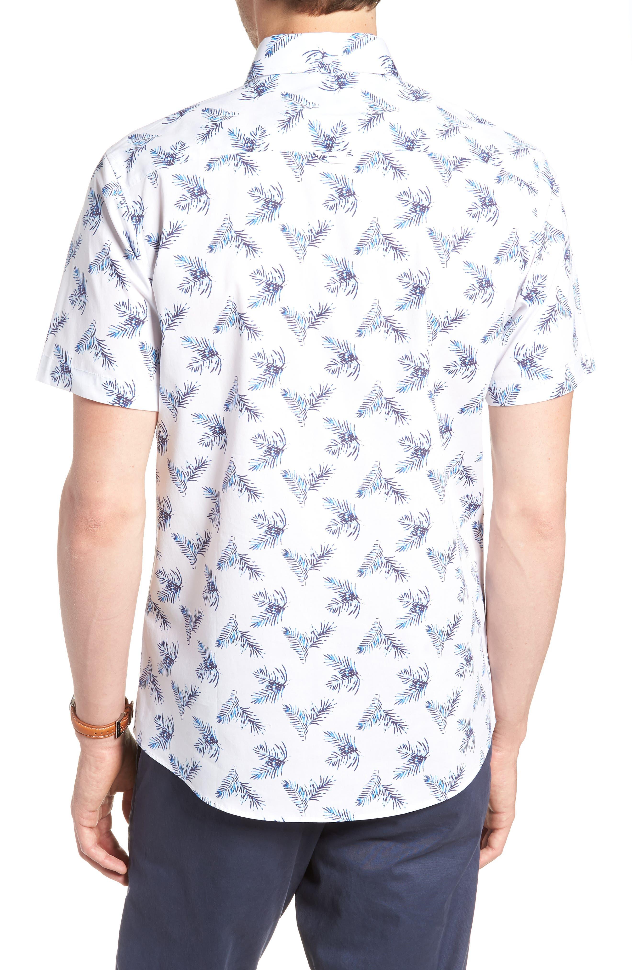 Trim Fit Palm Print Sport Shirt,                             Alternate thumbnail 3, color,                             White Blue Palm